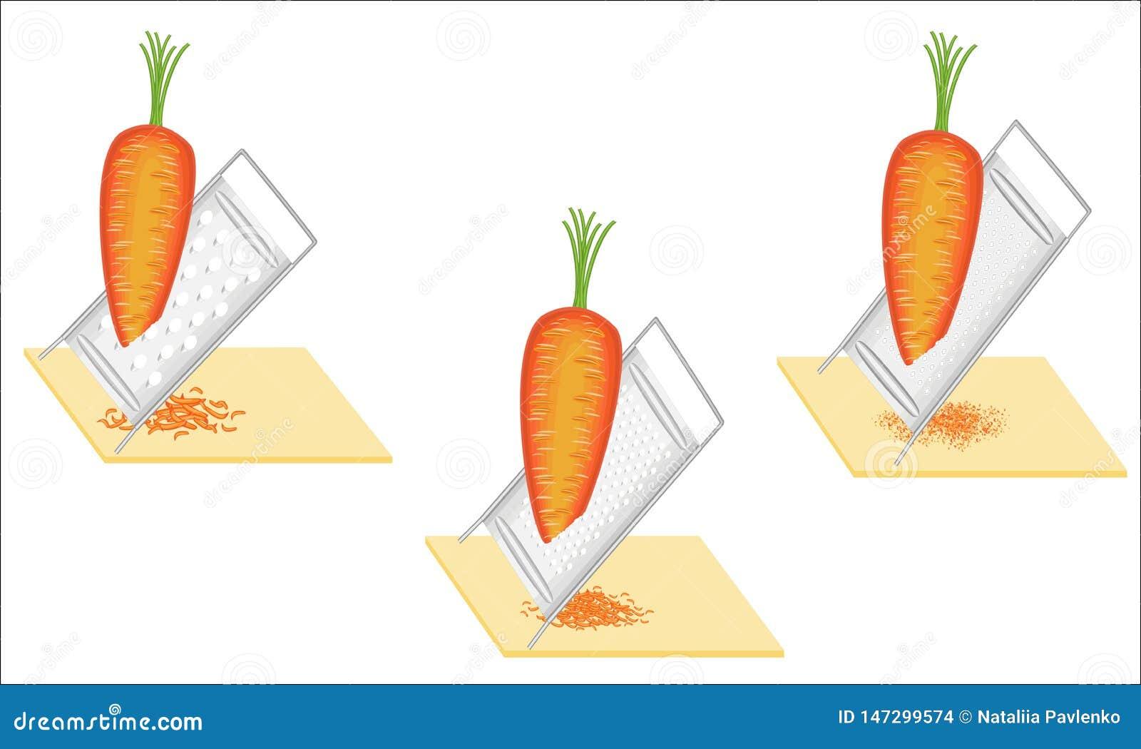 Ramassage E L?gumes de grille sur la r?pe Pr?paration de nourriture savoureuse et saine Positionnement d illustration de vecteur