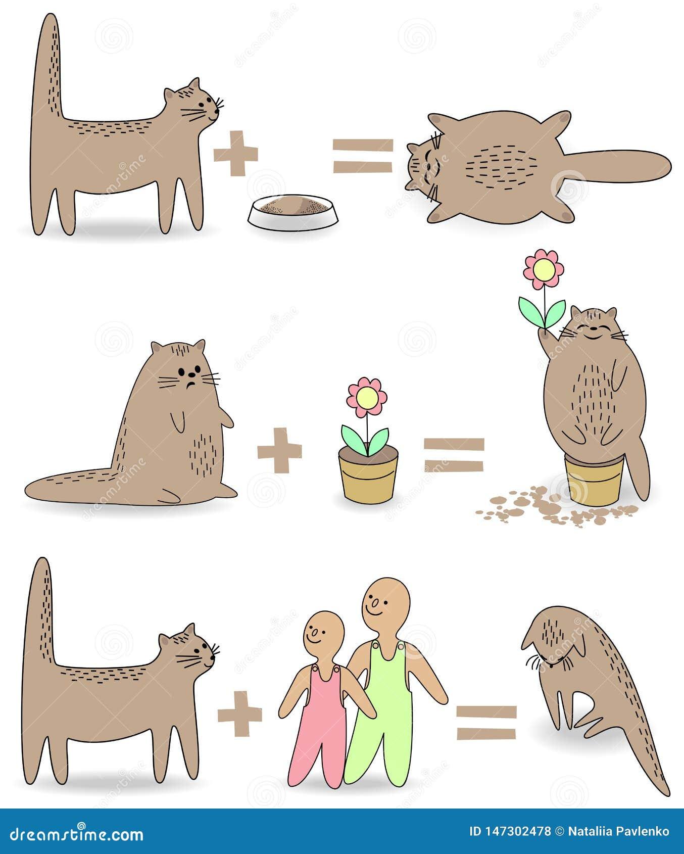 Ramassage Le chat va jouer avec les enfants Alors l animal devient triste Animal familier se reposant dans un pot de fleurs, mang