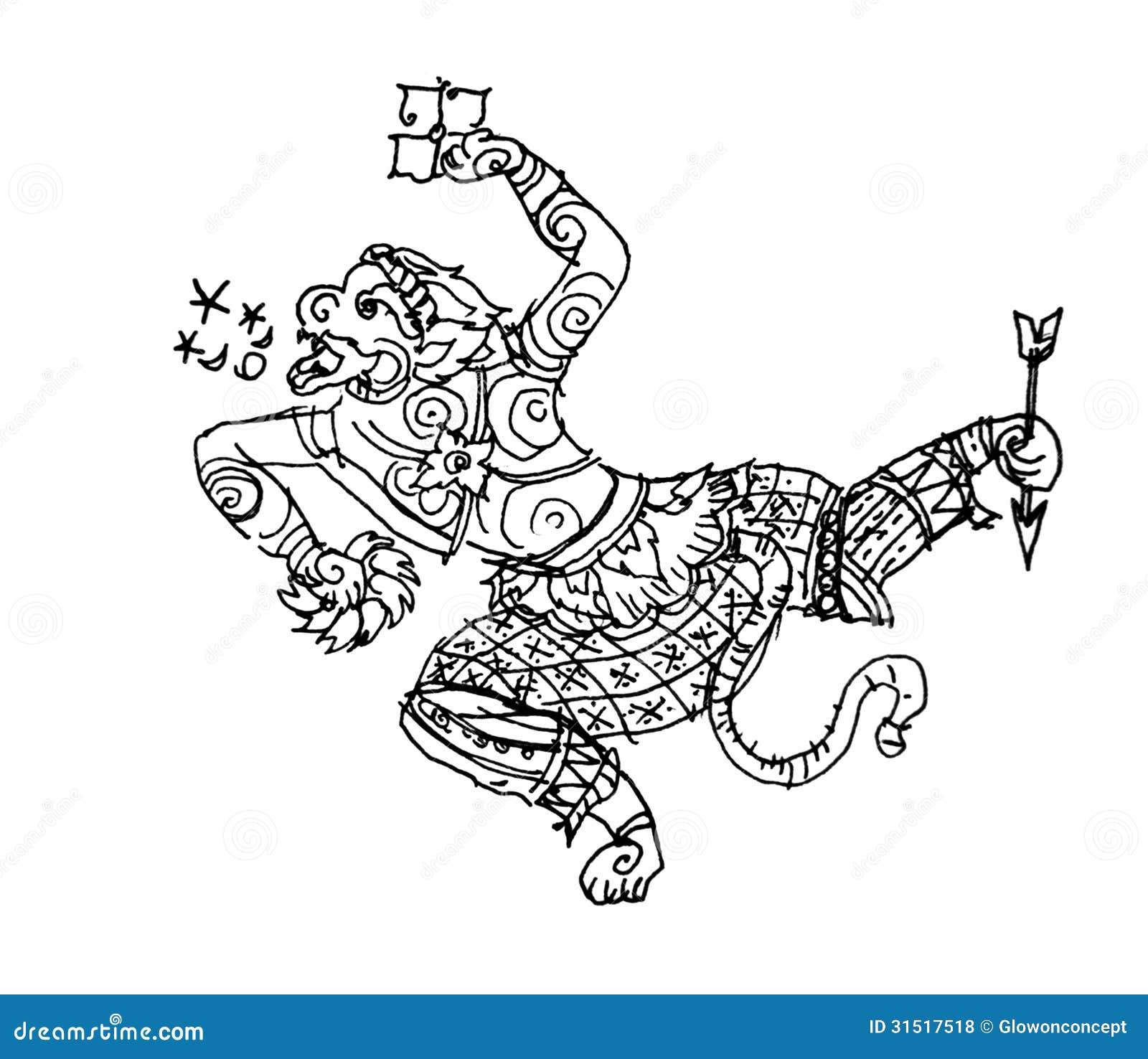 Cambodian Hanuman Tattoo Ramayana monkey  Hanuman  thai