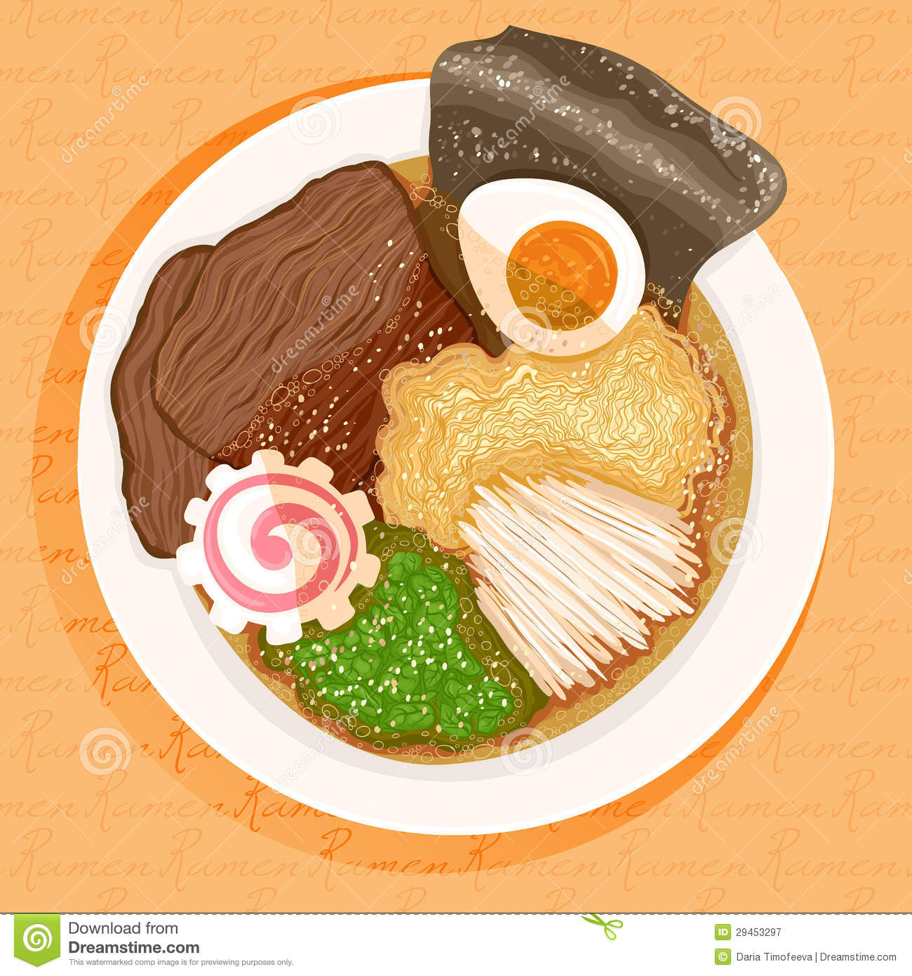 ramen cooking time beef with on background. orange prepared ramen Dish an with
