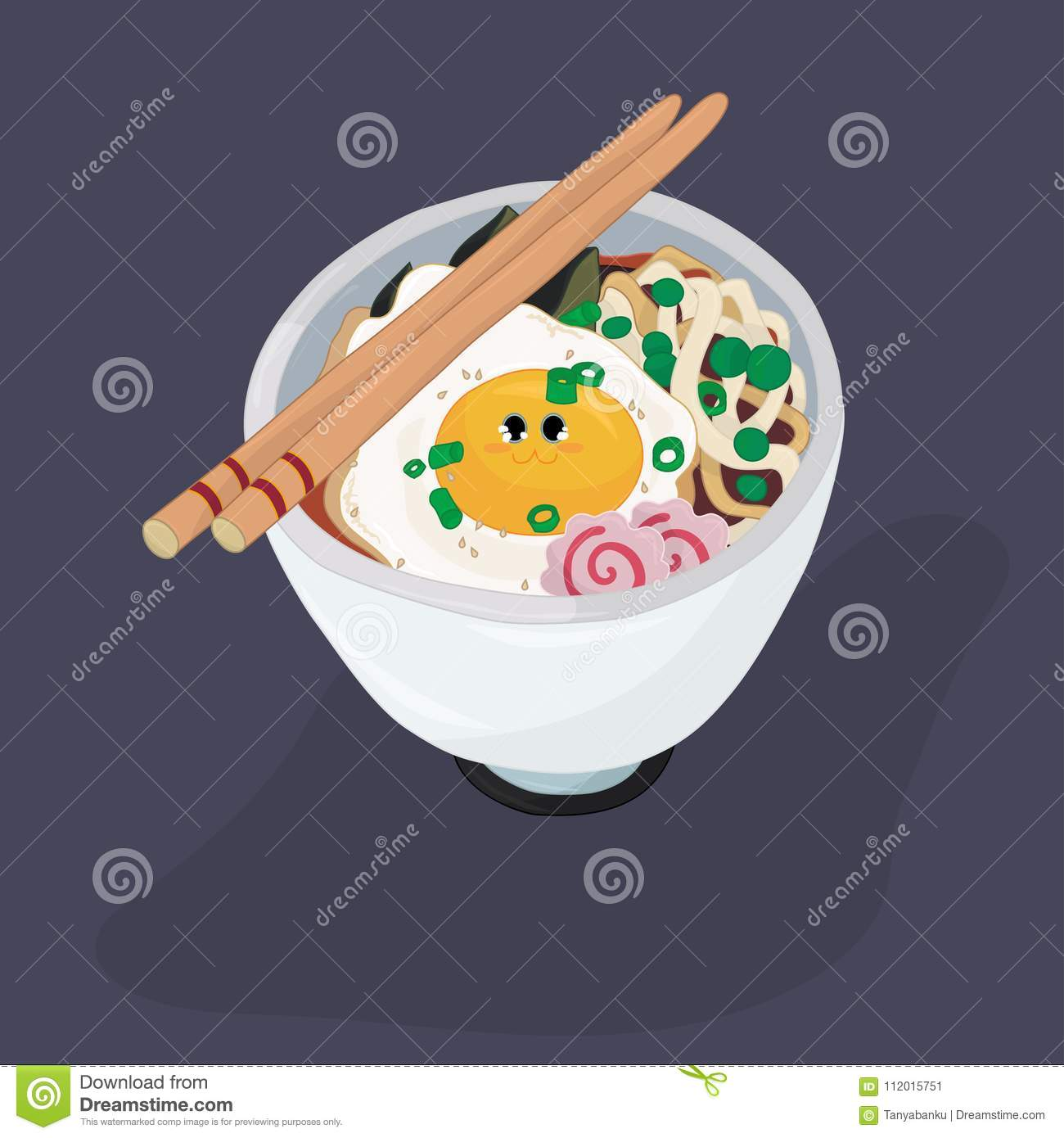Ramen Bowl With Egg And Fish Cakes Coloring Page Stock Vector