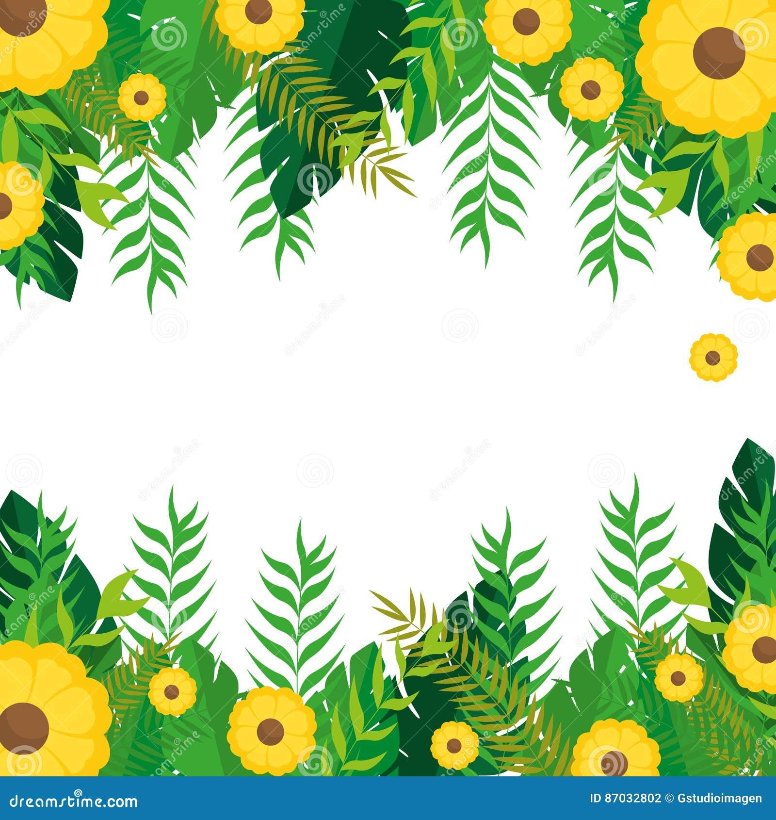 Ramen med gulingblommor och den gröna sidanaturen planlägger