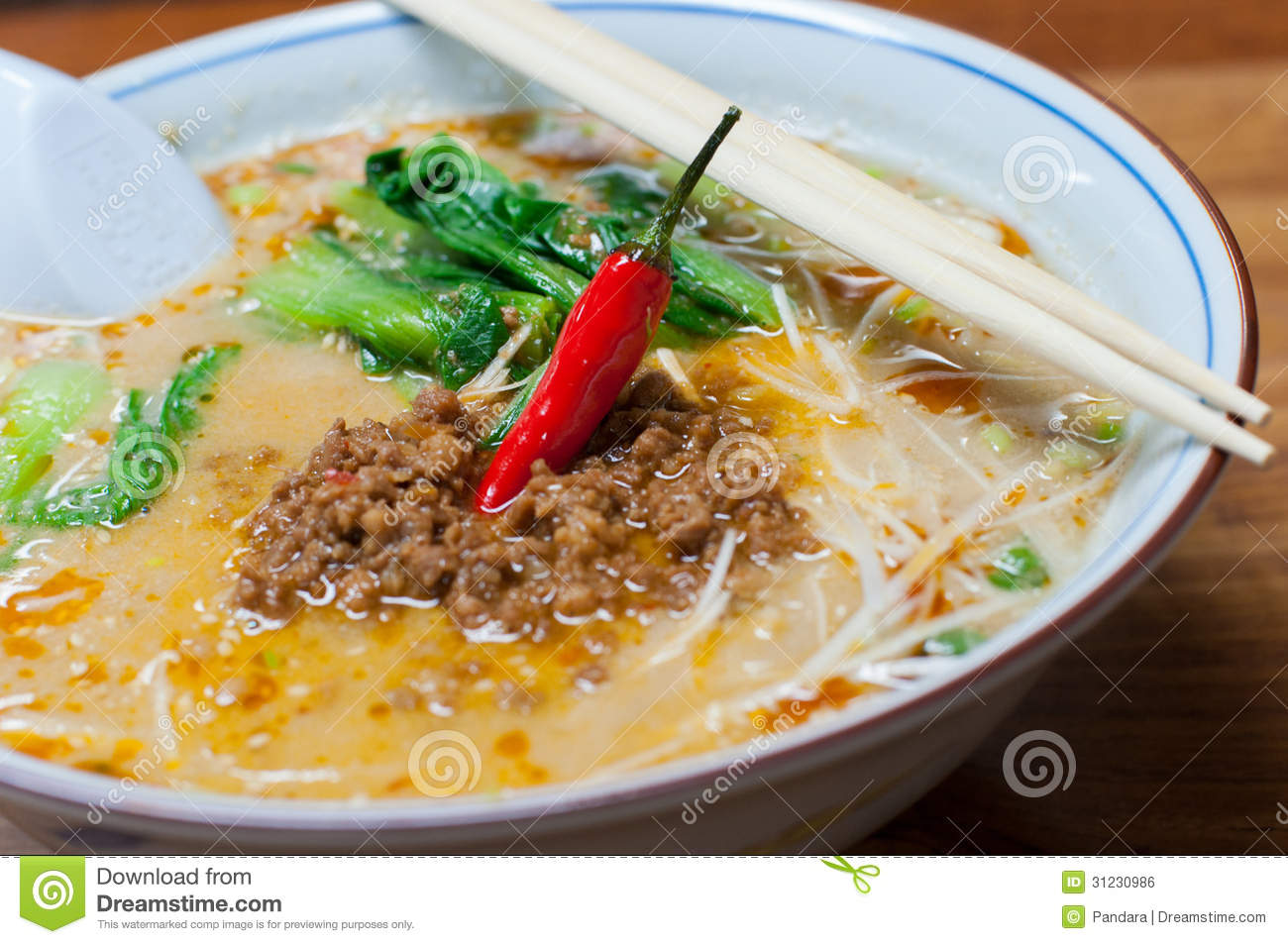 Ramen, Noodle In Sesame Soup With Spicy Ground Pork Royalty Free