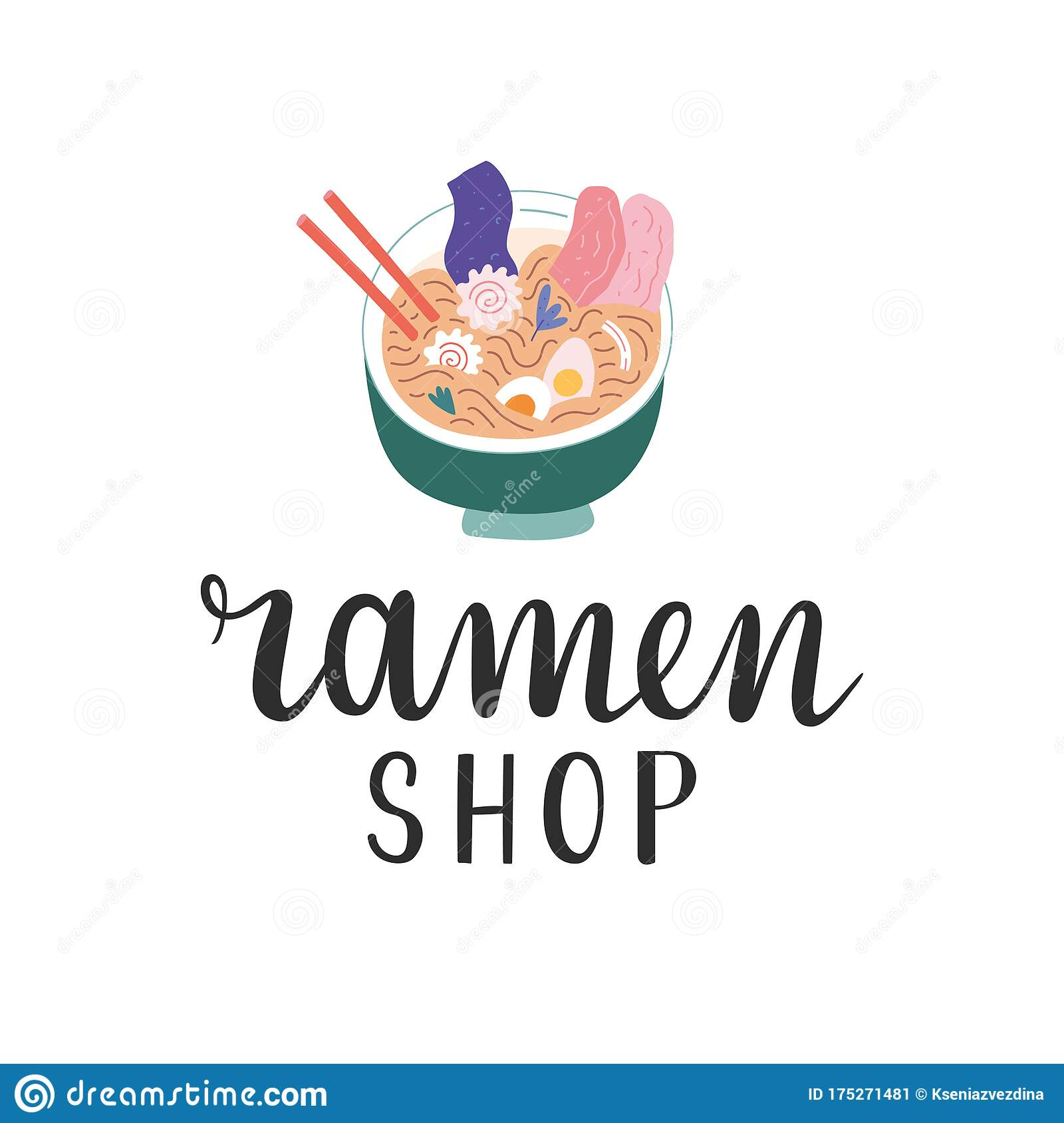 Ramen Shop Logo Handwritten Lettering Logotype For Asian Food Cafe Or Restaurant Illustration Of Ramen Bowl With Stock Vector Illustration Of Name Typography 175271481