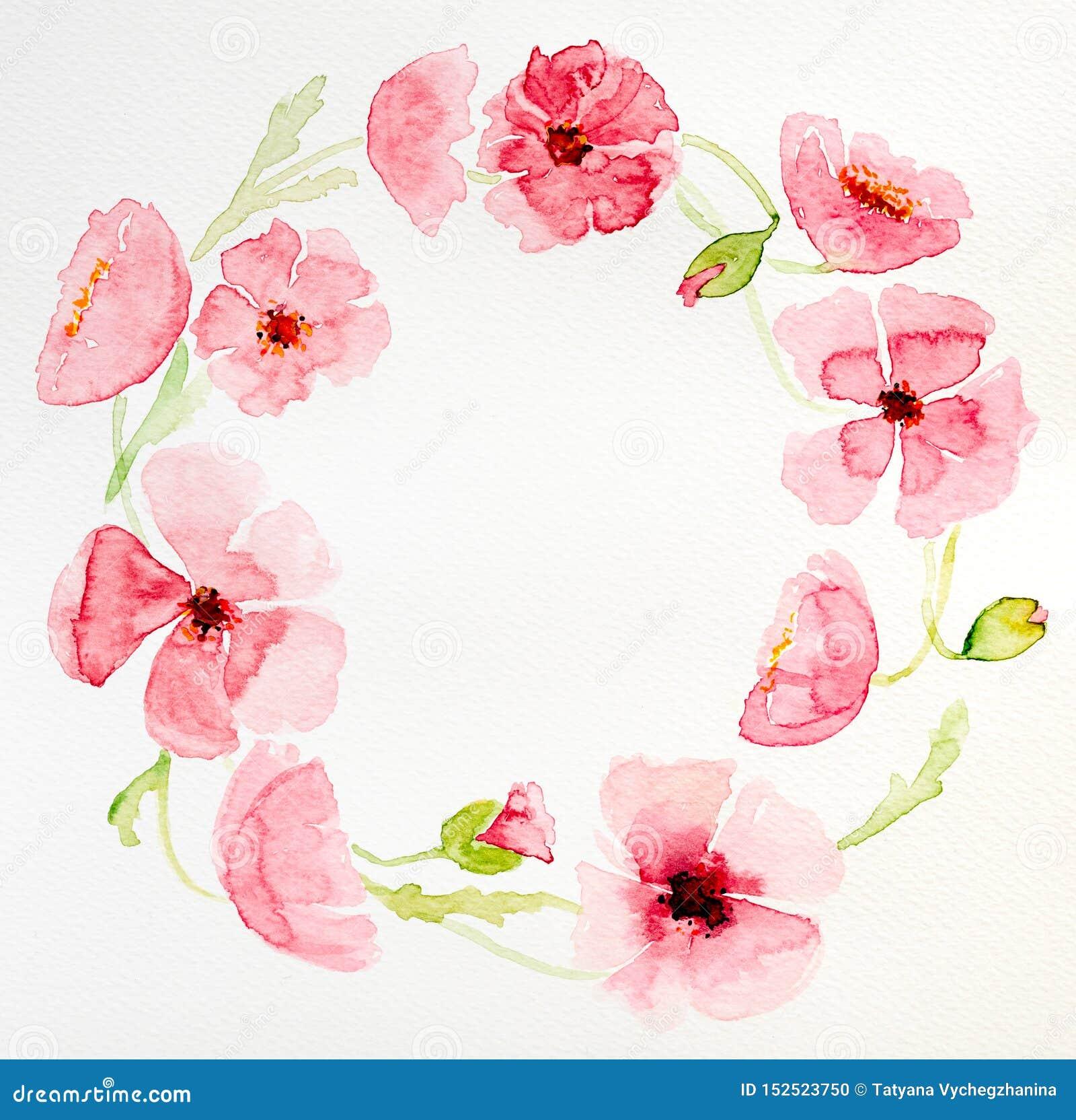 Ramo c?rculo-formado acuarela de la flor