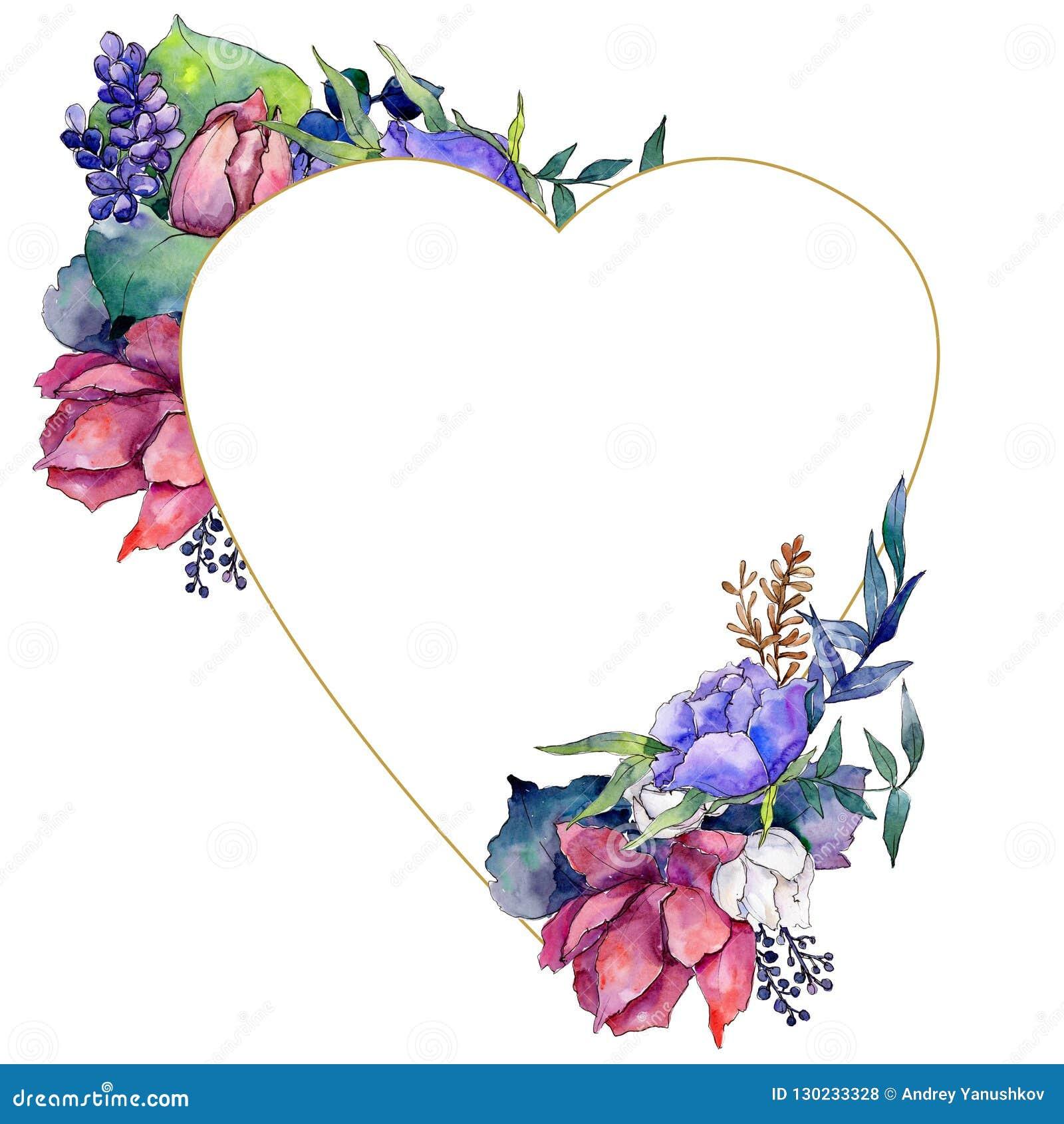 Ramo colorido de la acuarela de flores de la mezcla Flor botánica floral Cuadrado del ornamento de la frontera del capítulo