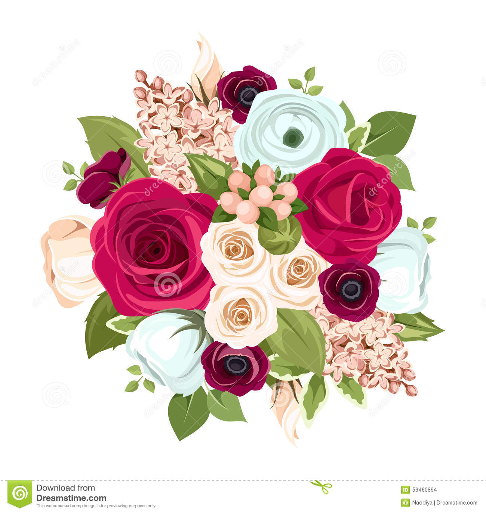 Ramo Con Las Flores Rojas Blancas Y Azules Ilustracion Del Vector