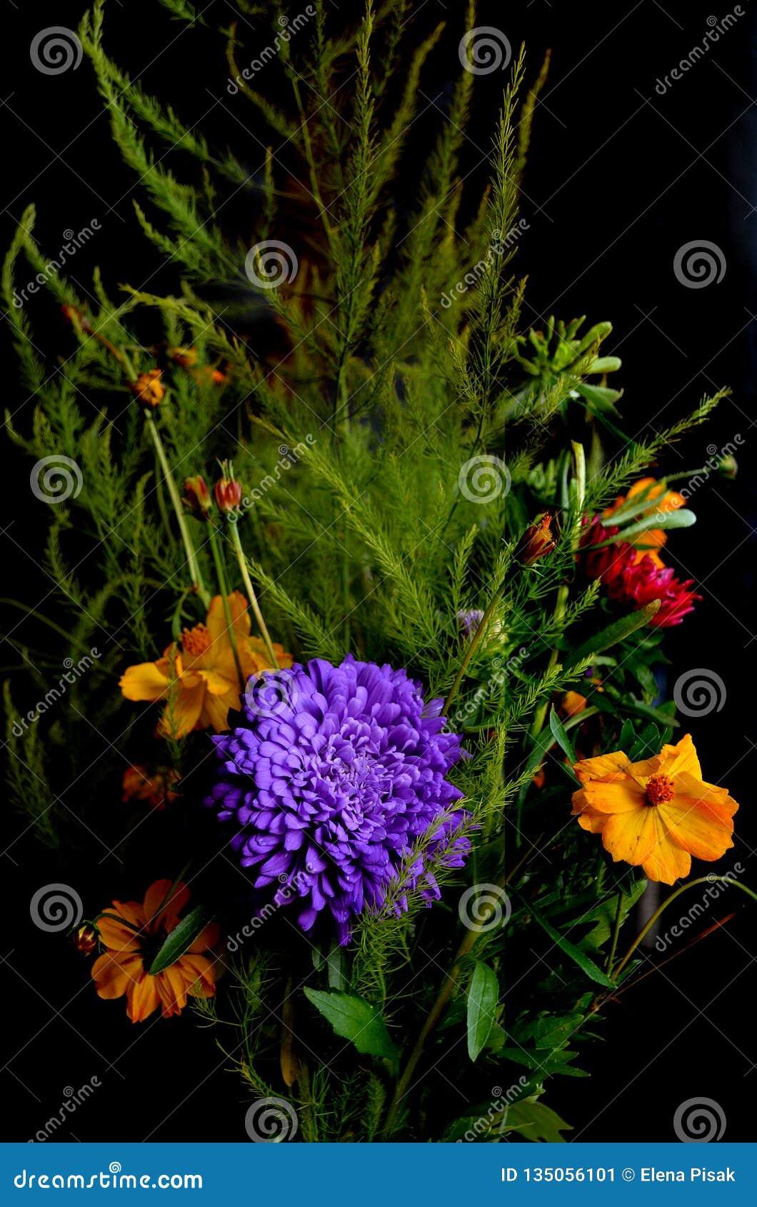 Ramo de flores en fondo negro