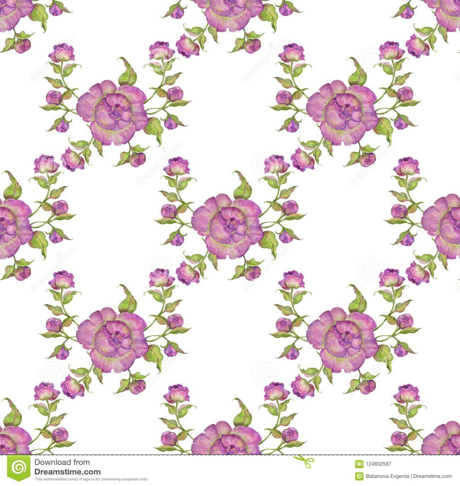 Ramo De Flores De Peonias Purpuras Modelo Inconsutil Ejemplo De La