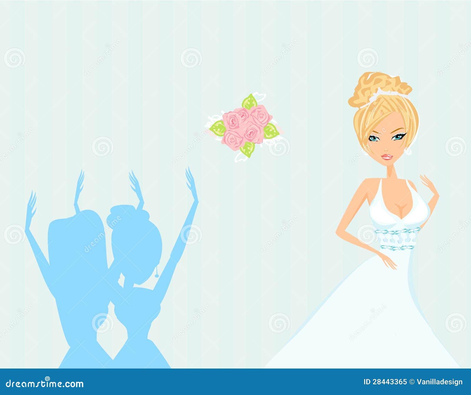 Ramo de la boda de la novia que lanza a las damas de honor