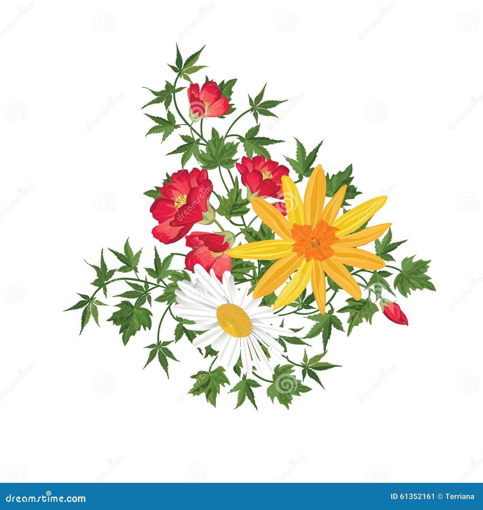 Ramo De La Flor Marco Floral Tarjeta De Felicitación Del Flourish ...