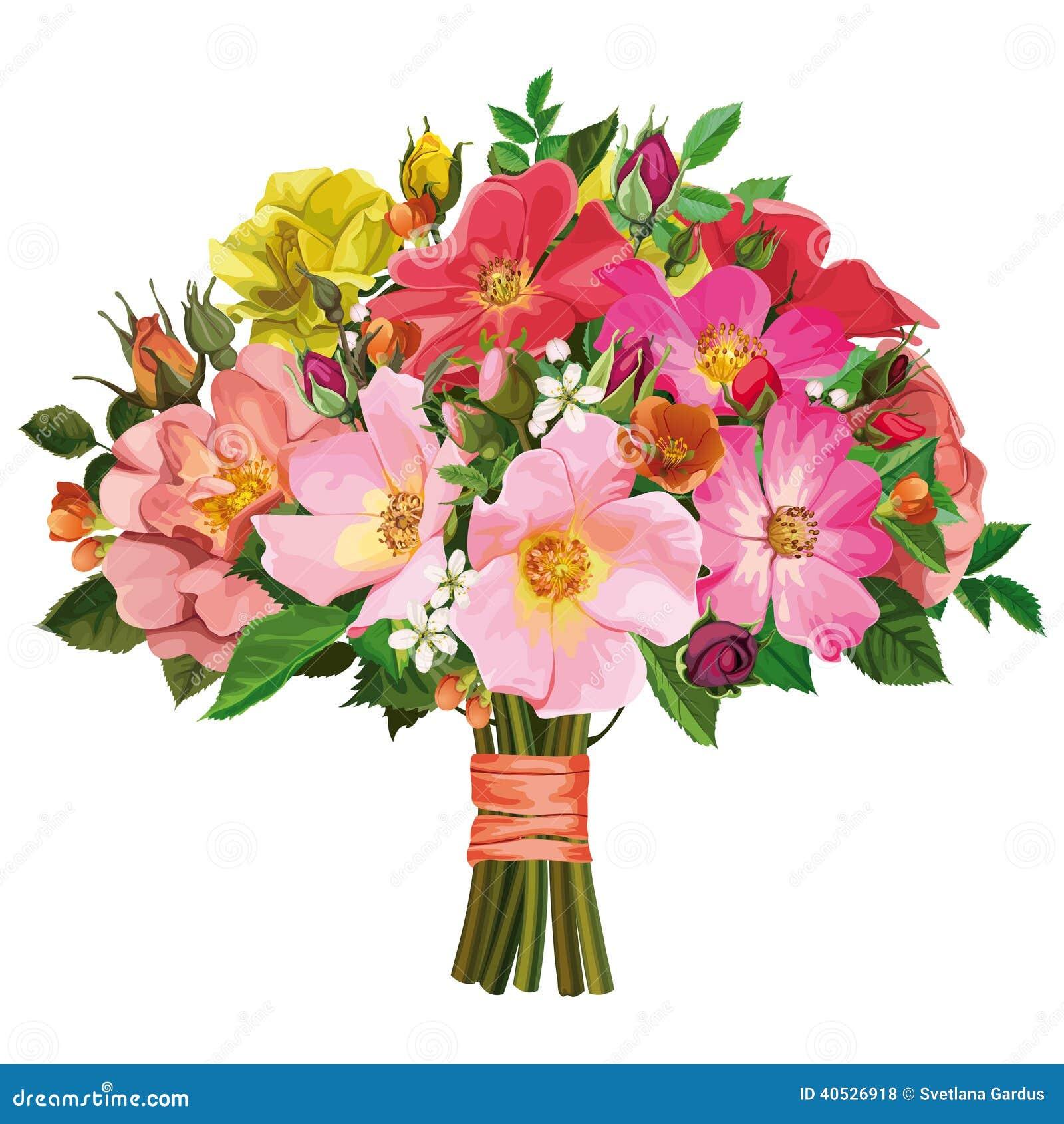 Ramo De Rosas Multicoloras Y De Flores Salvajes Ilustración del Vector - Imag...
