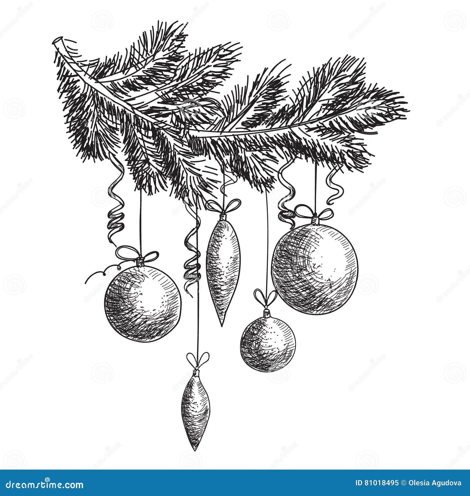 Decorazioni Di Natale Disegni.Ramo Di Albero Disegnato A Mano Della Pelliccia Di Schizzo