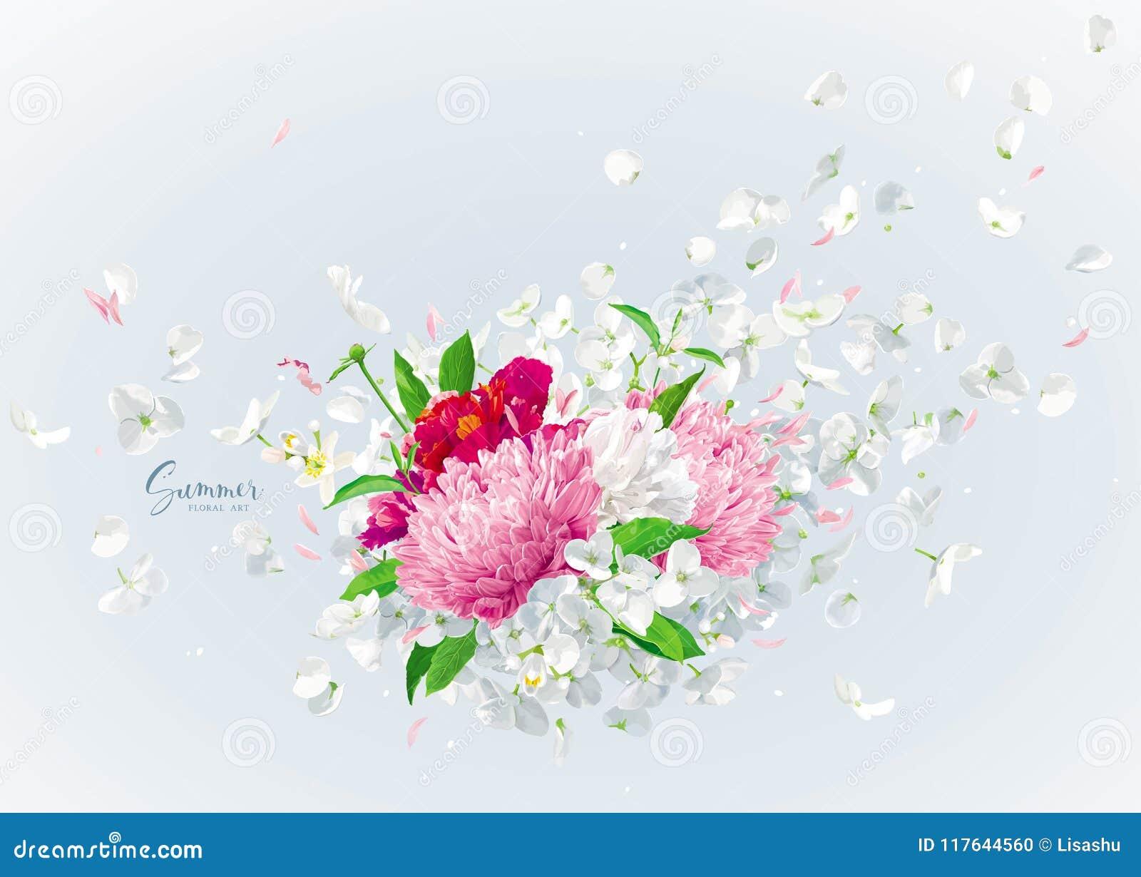 Ramo floral del vector con los pétalos del vuelo