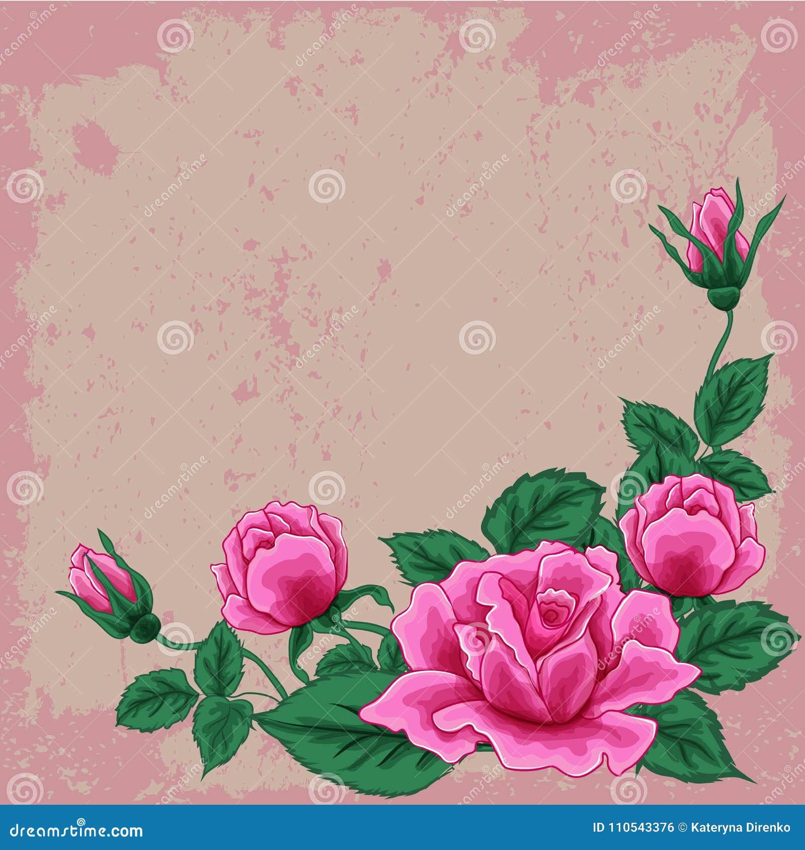 Ramo Hermoso Con Cinco Rosas Y Hojas Rosadas Arreglo Floral