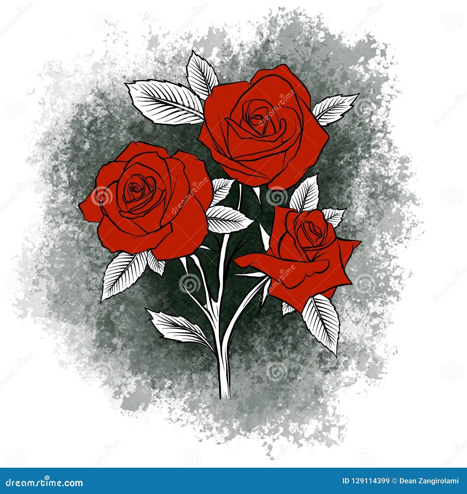 Ramo Hermoso Con Las Rosas Rojas Y Las Hojas Arreglo Floral