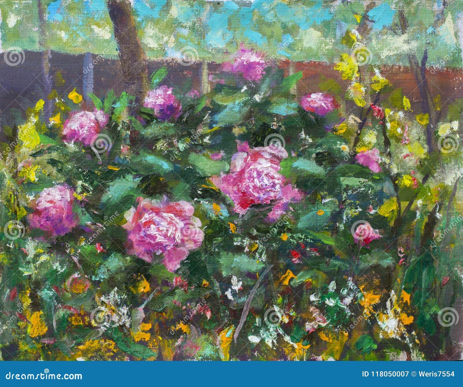 Ramo Hermoso De La Pintura Al óleo Floral En El Jardín De Las Flores ...