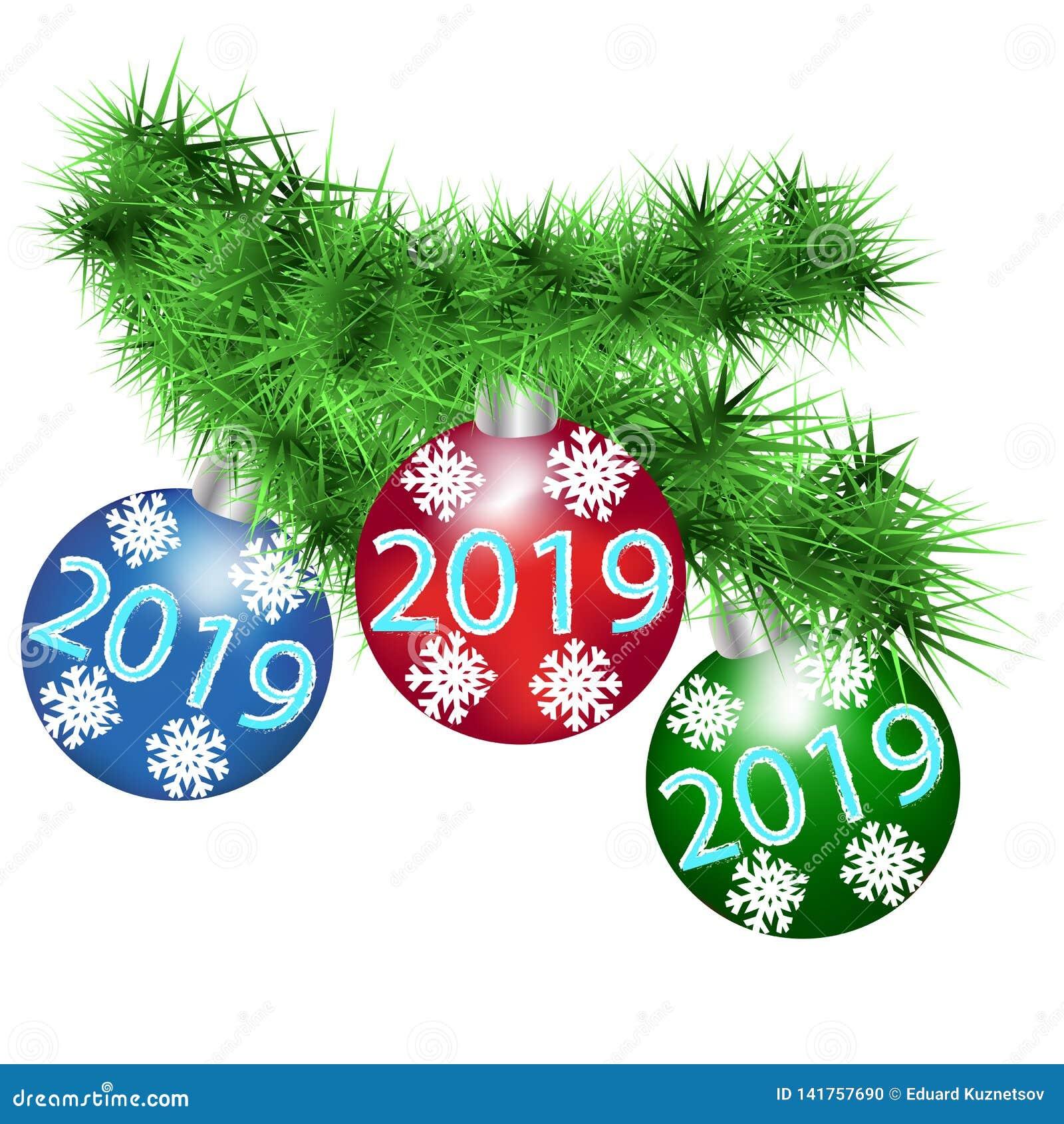 Ramo macio do abeto vermelho com as bolas festivas do ano novo