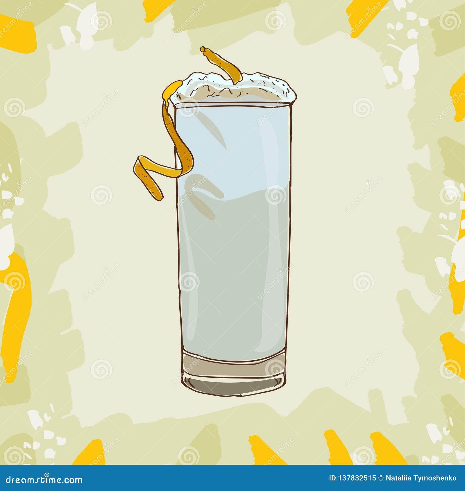 Ramos dżinu Fizz koktajlu ilustracja Alkoholiczka baru napoju ręka rysujący wektor Wystrzał sztuka
