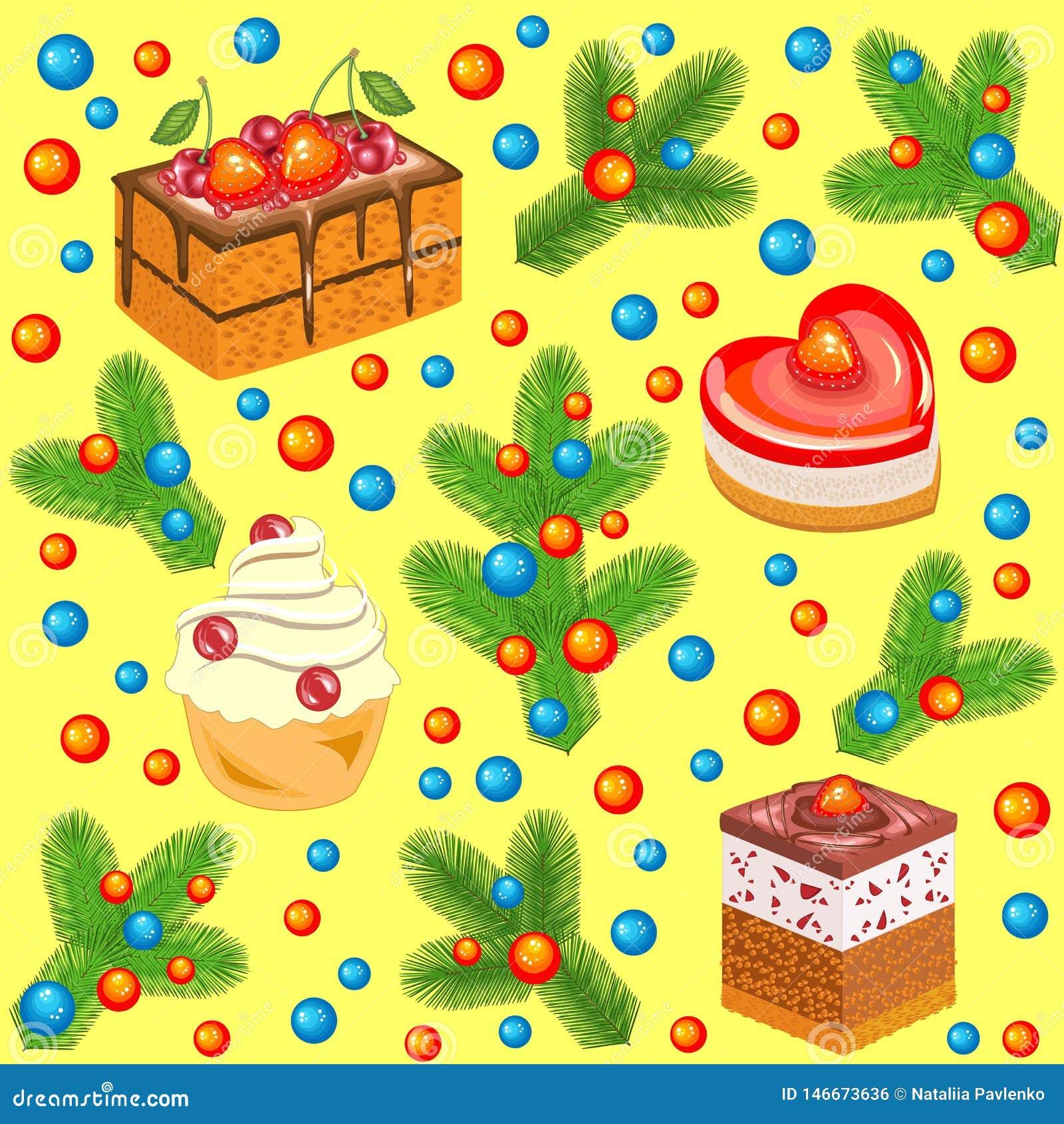 Ramos de árvore do Natal decorados com bolas brilhantes e os bolos doces Teste padr?o sem emenda Apropriado para presentes de épo