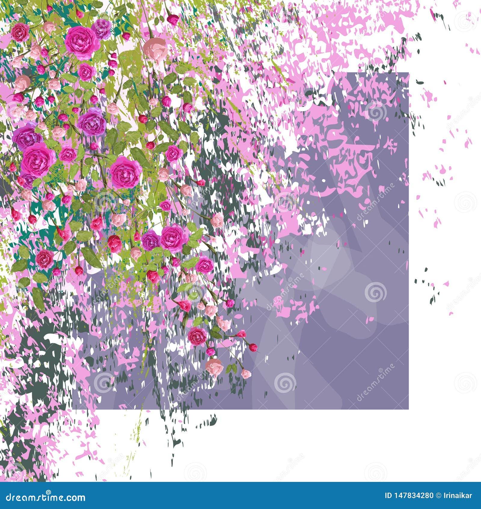 Ramoscelli delle rose rosa con le foglie su fondo strutturato struttura bianca