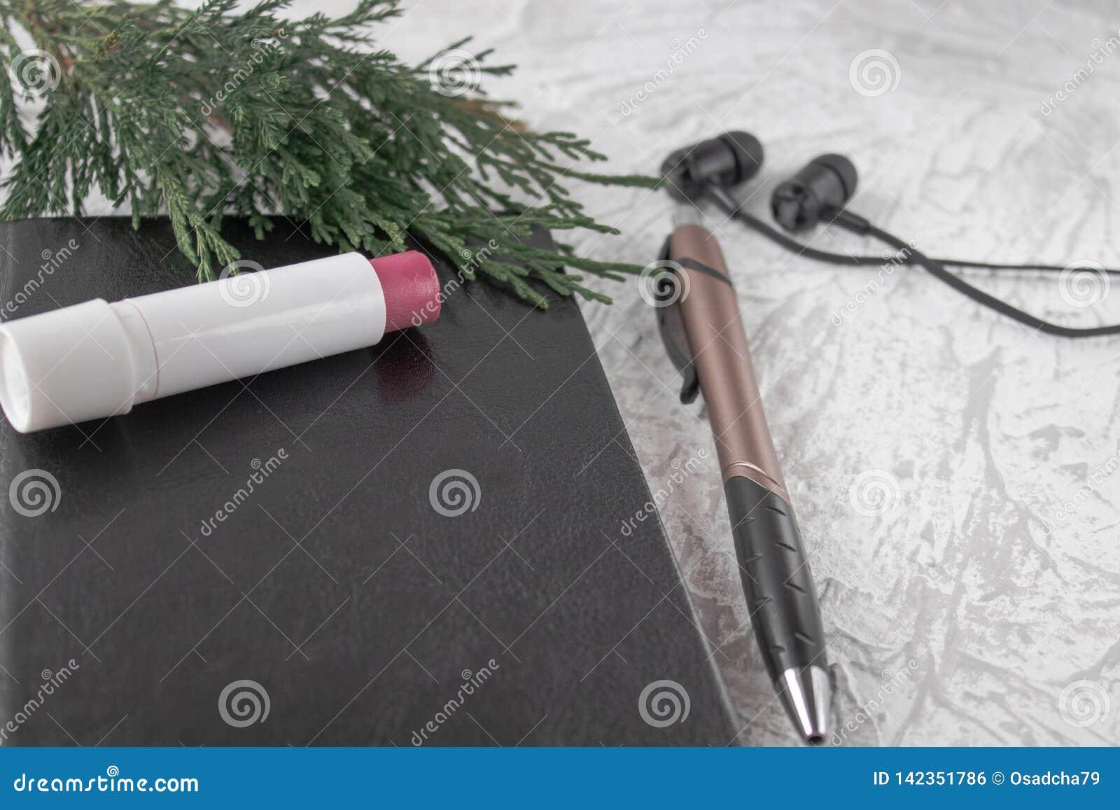 Ramoscello verde su un taccuino nero accanto ad una penna, ad un rossetto ed alle cuffie su un fondo bianco