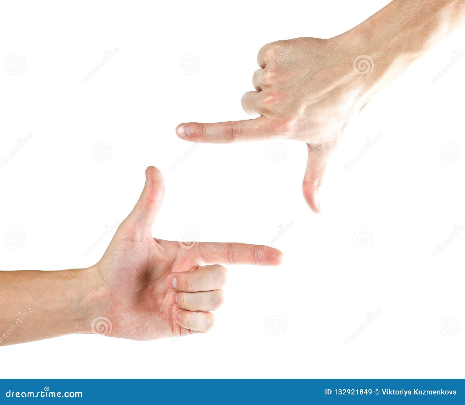 Ramowych ręk kształtny viewfinder Odizolowywający na białym backgroun