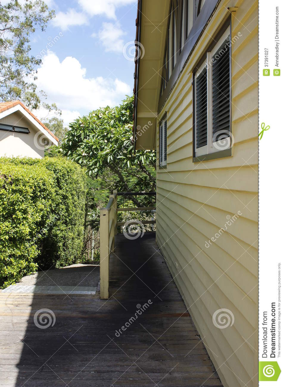 Ramp leading to wooden building