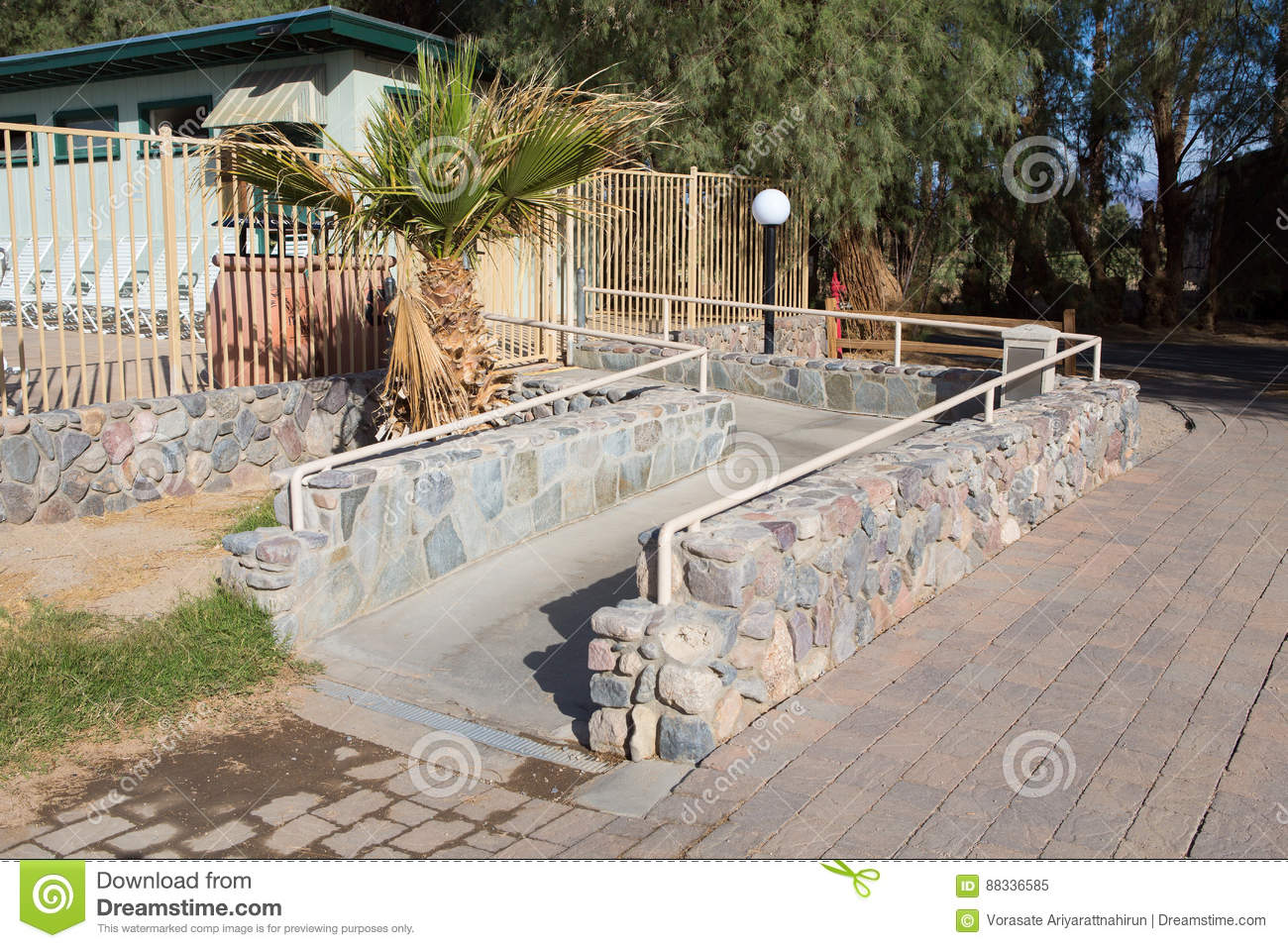 huge discount da582 af788 Ramp way for support wheelchair disabled people.Using wheelchair ramp  Barrier-free access.Selective focus.
