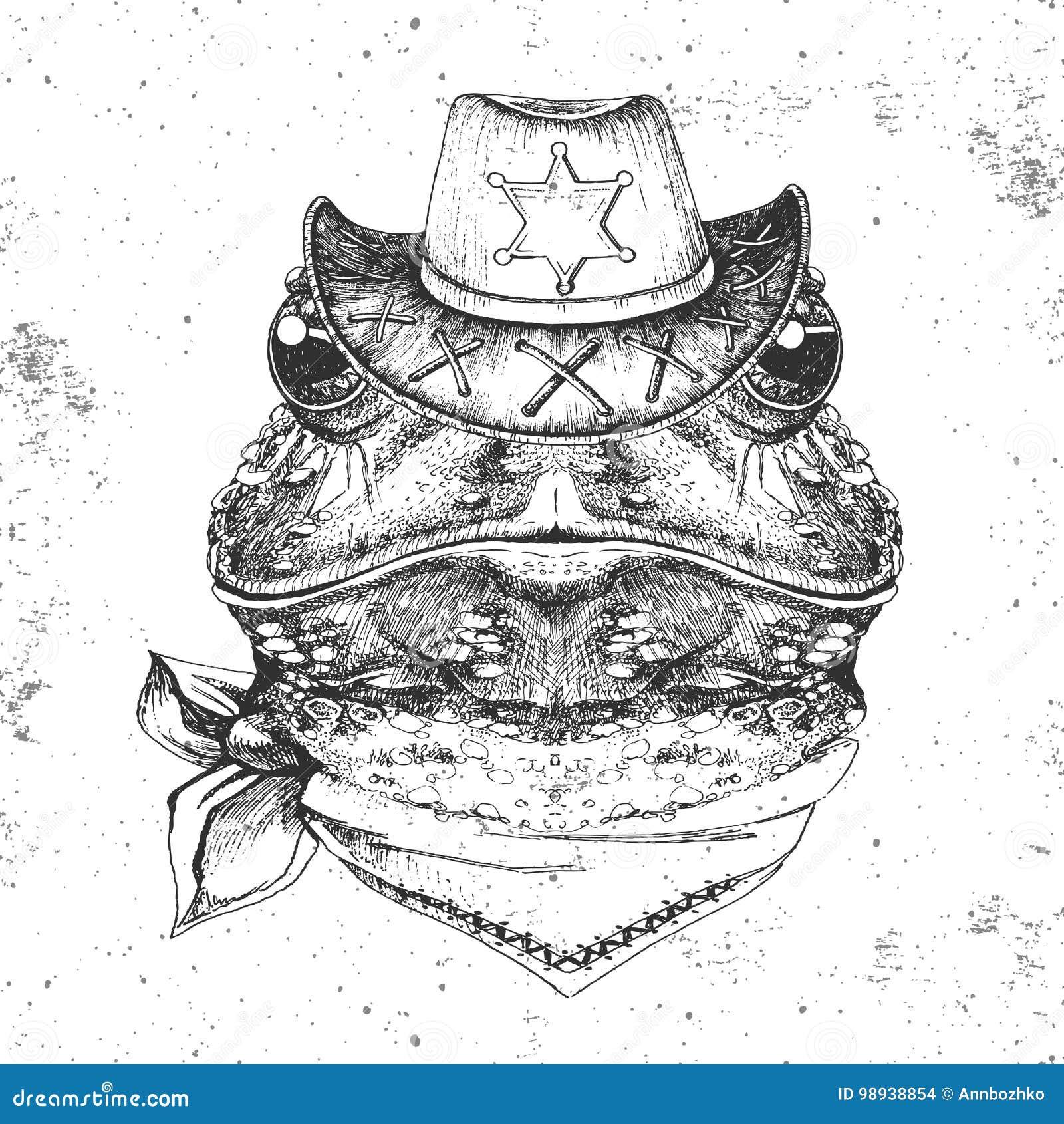 9e2841818390a Rana del animal del inconformista Bozal del dibujo de la mano de la rana