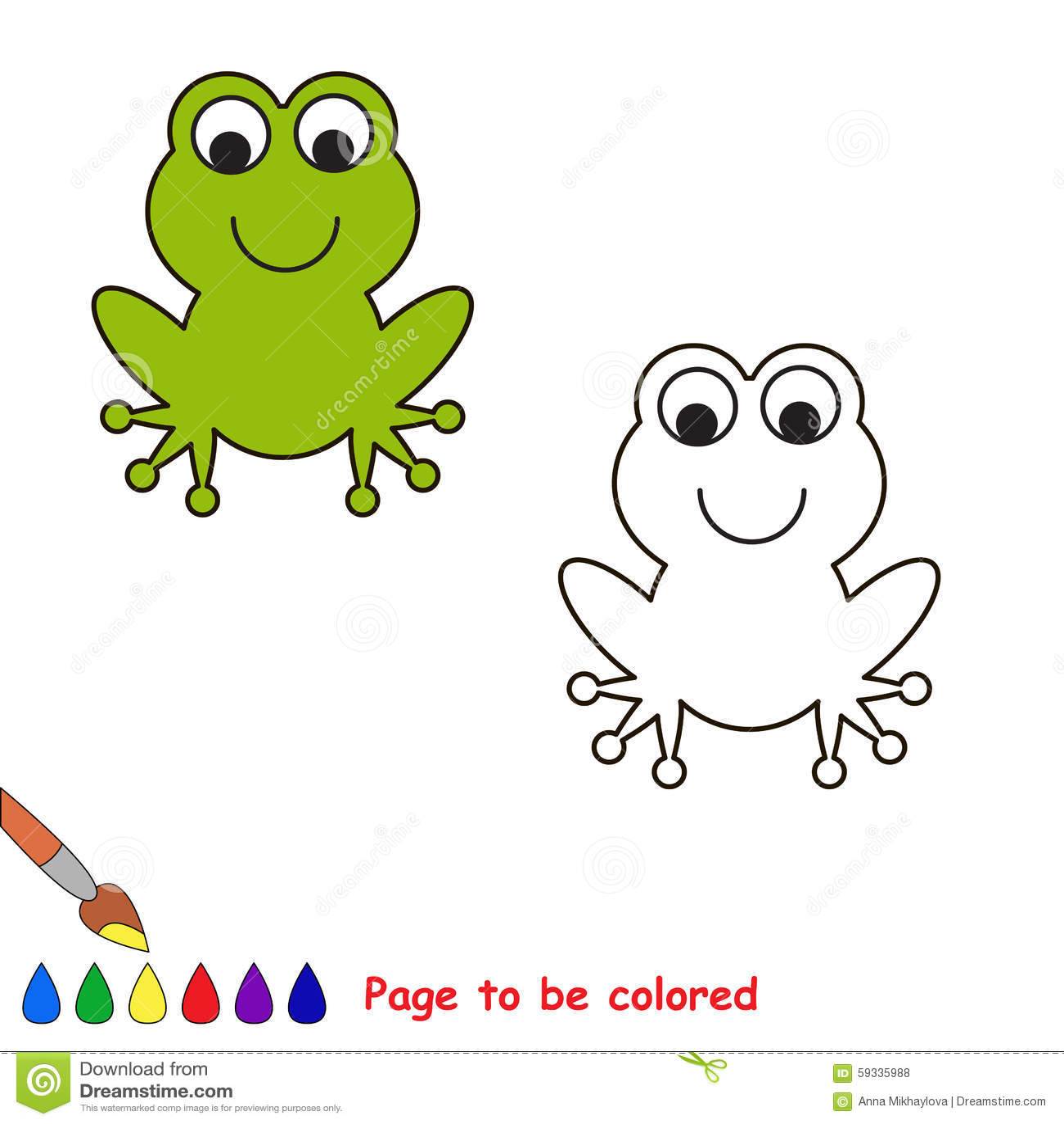 Rana Del Fumetto Da Colorare Illustrazione Vettoriale