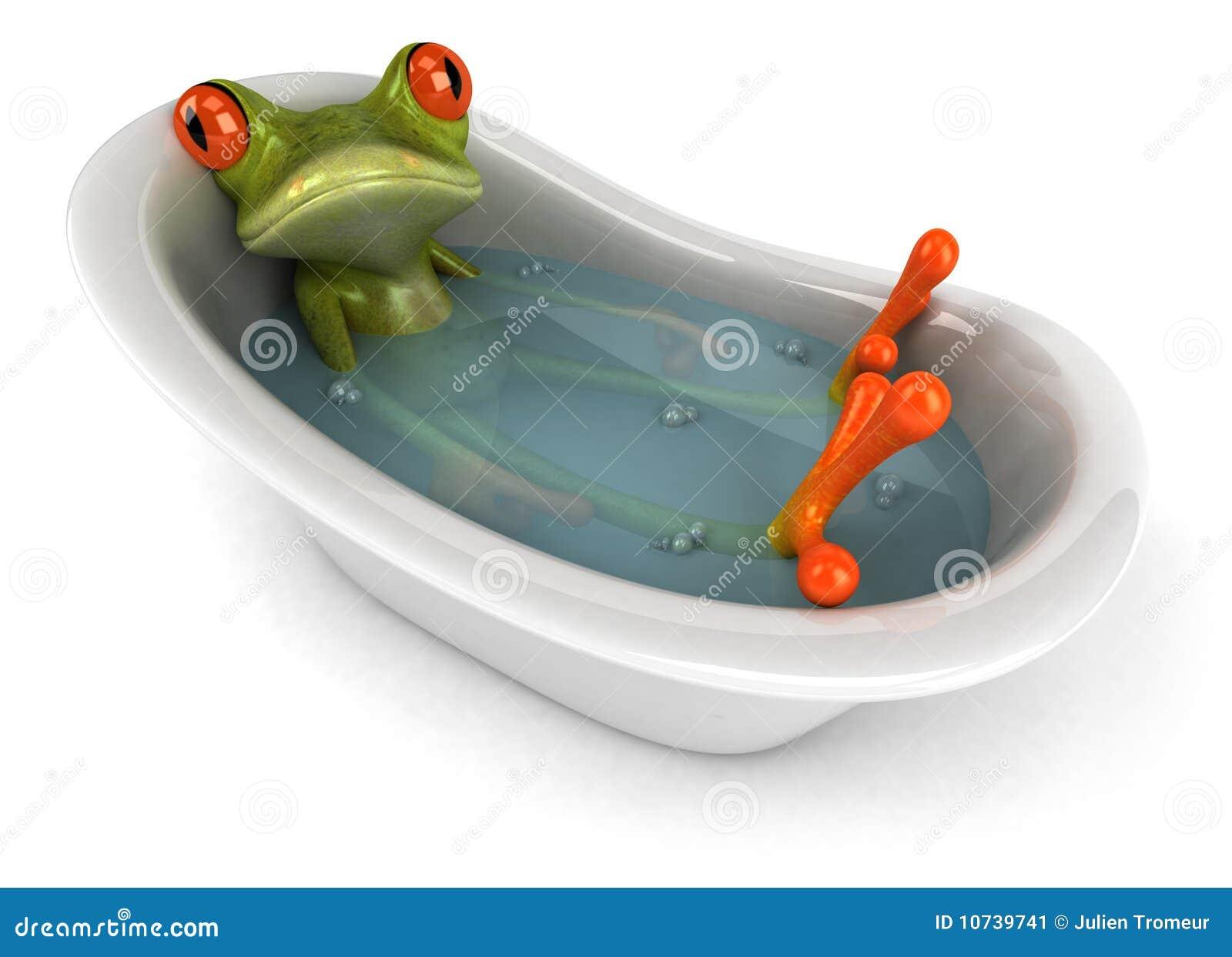 Set Bagno Rana : Rana in un bagno illustrazione di stock. illustrazione di closeup