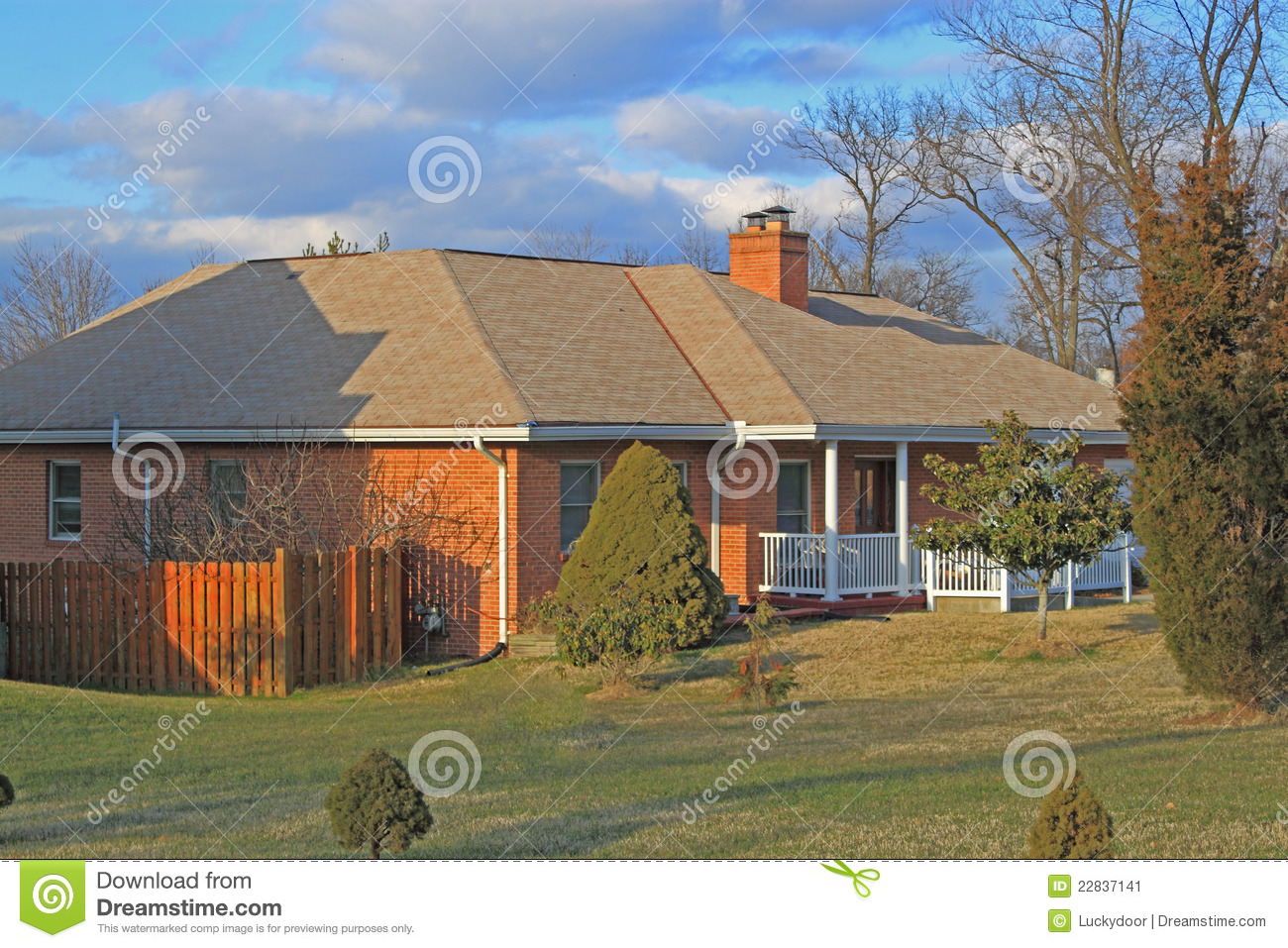 Ranch home with three car garage royalty free stock image for Homes with three car garages
