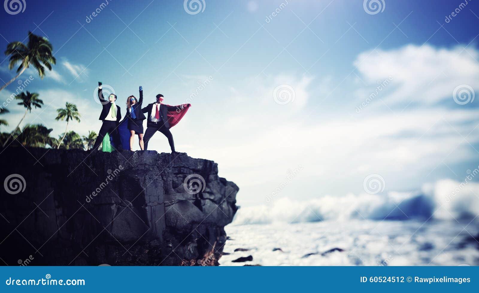 Rand Cliff Achievement Success Concept de bedrijfs van Superheroes