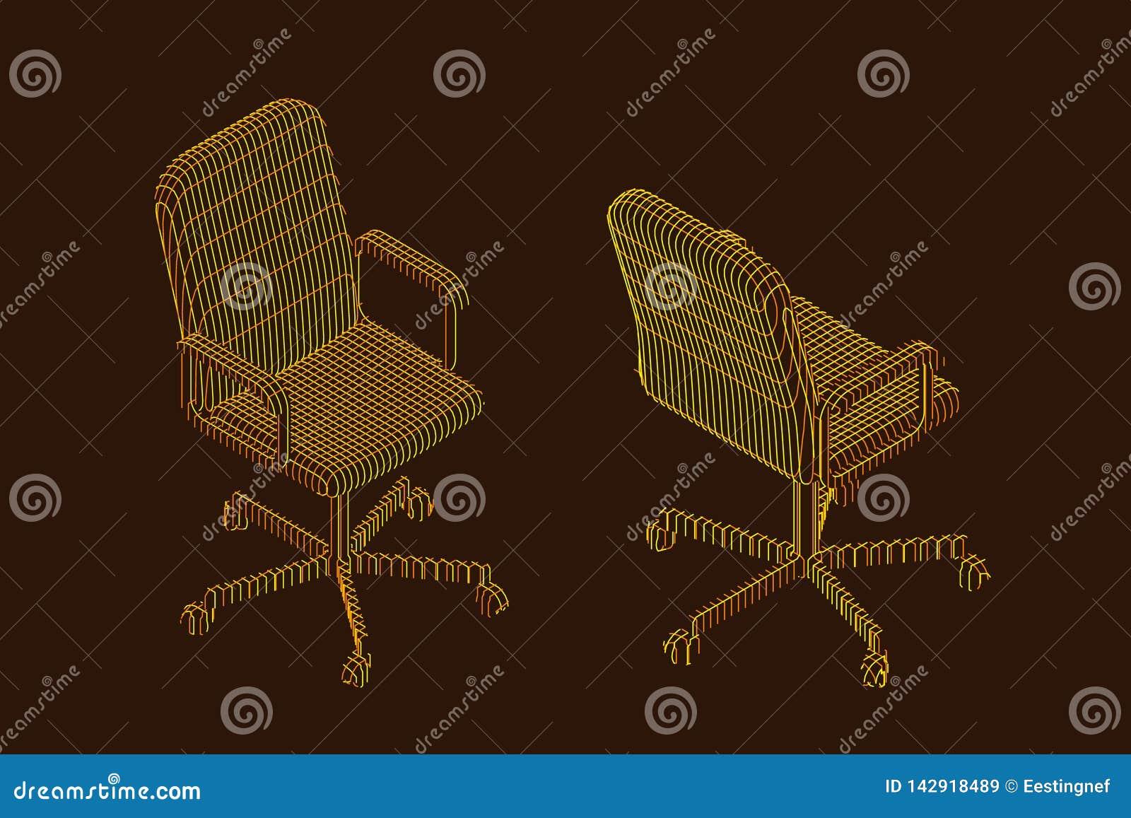 Randig kontorsstol vektorkonturillustration