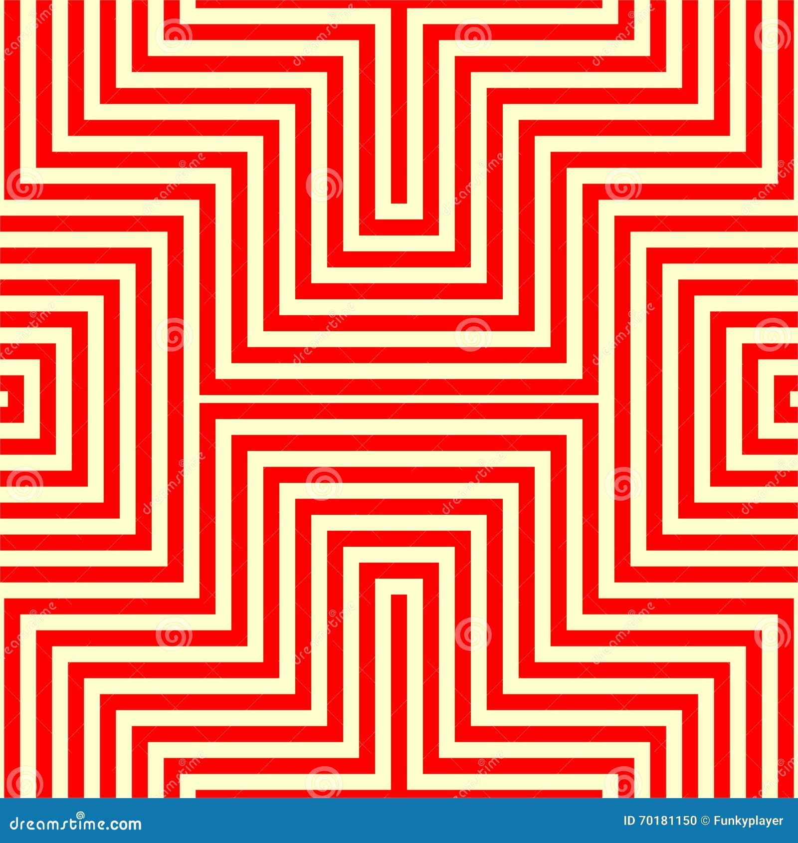 Randig röd vit sömlös modell Vinkelformiga linjer texturbakgrund för abstrakt repetition