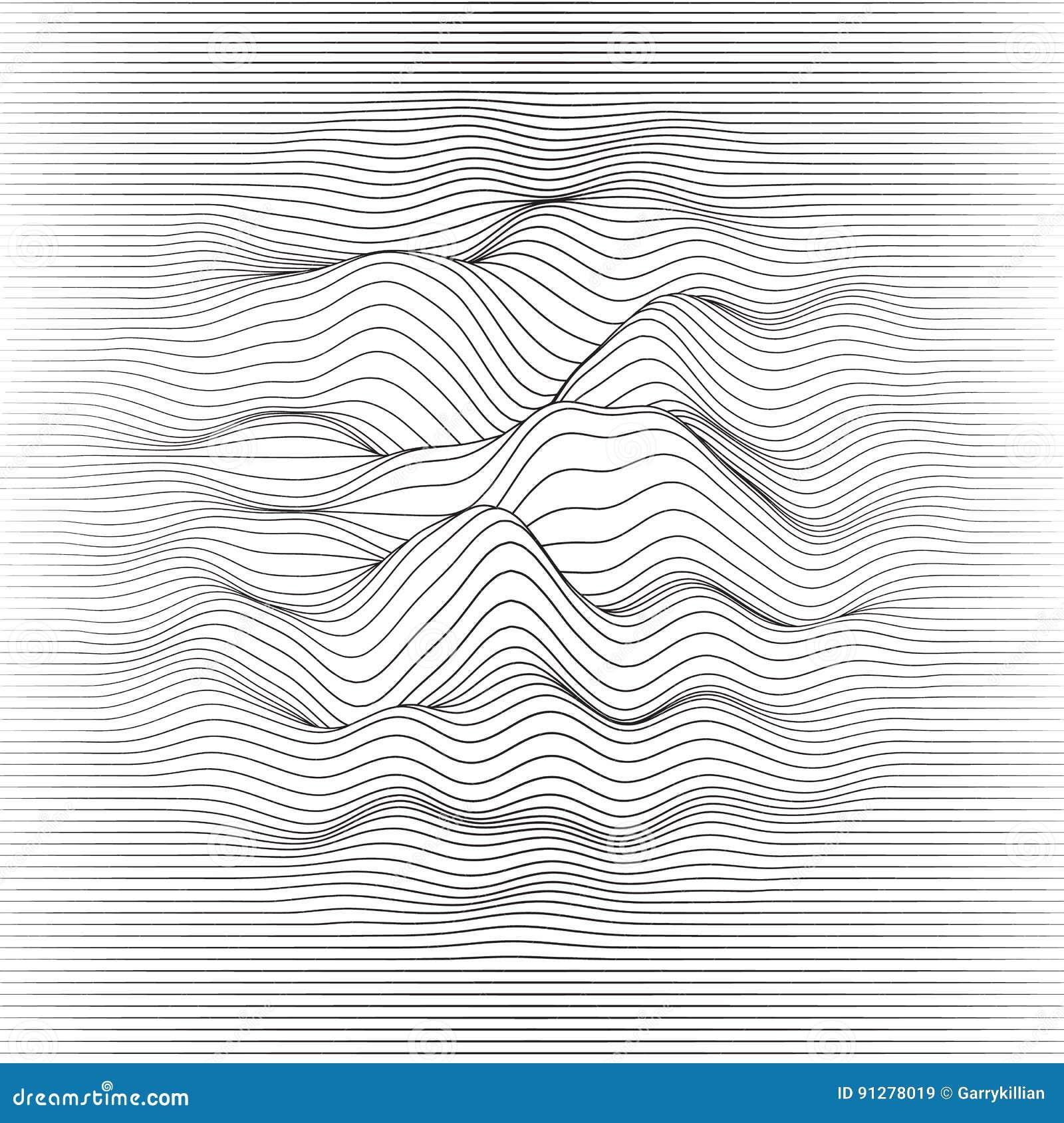 Randig vektor för bakgrund Abstrakt linje vågor Svängning för solid våg Skraj krullade linjer Elegant krabb textur