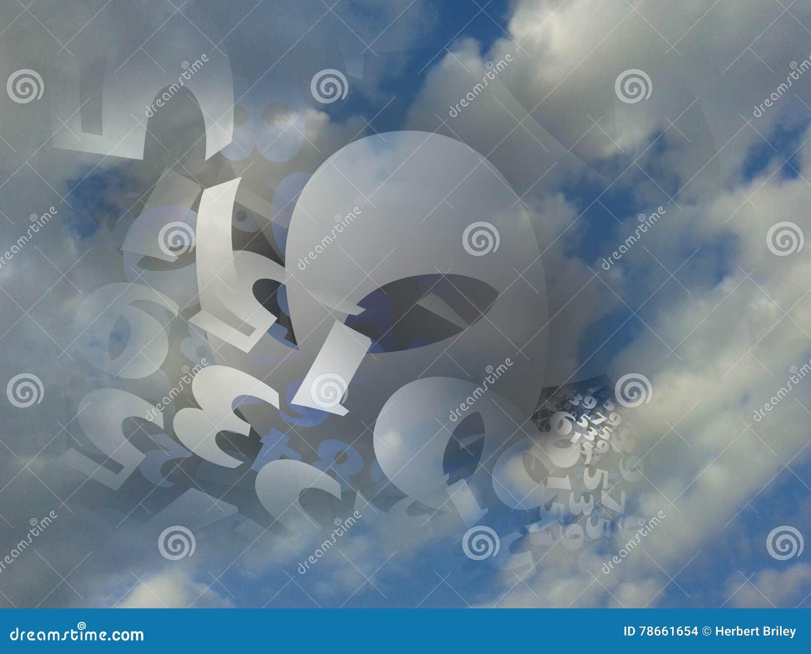 Random numbers generated cloud background illustration