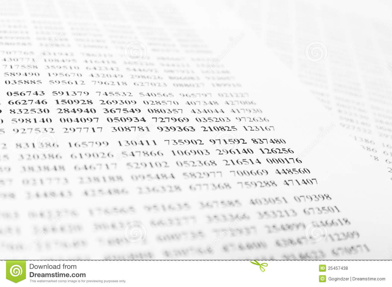 Isolated table of random numbers on white paper background