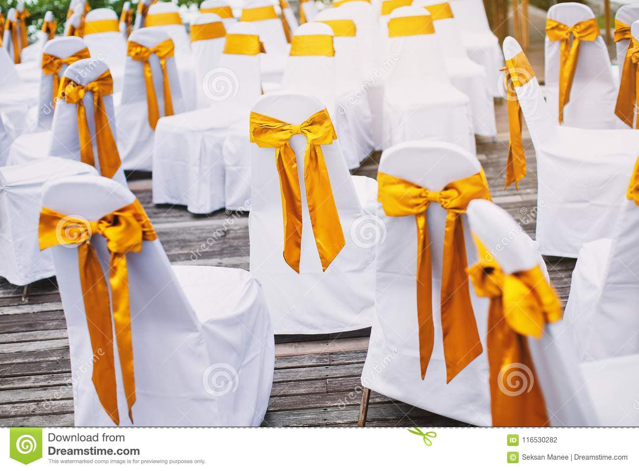 A Group Of White Spandex Chairs Cover With Gold Organza Sash For