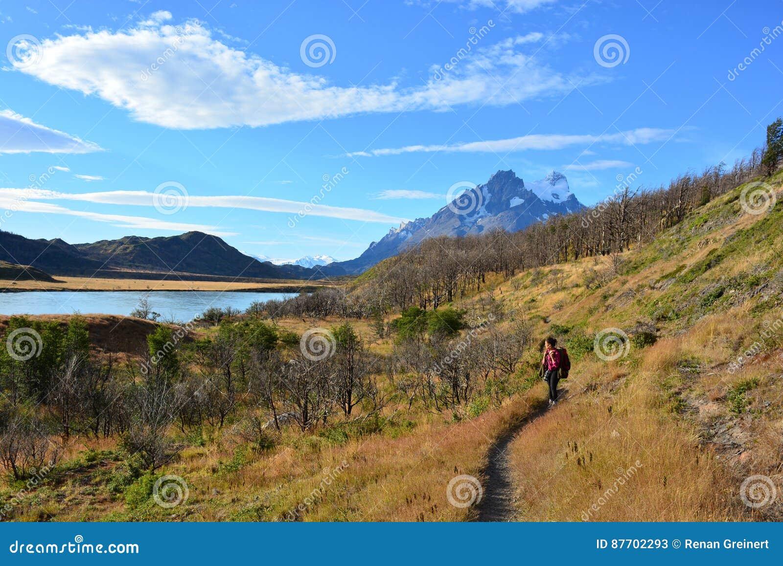 Randonneur de femme en parc national de Torres del Paine, Chili