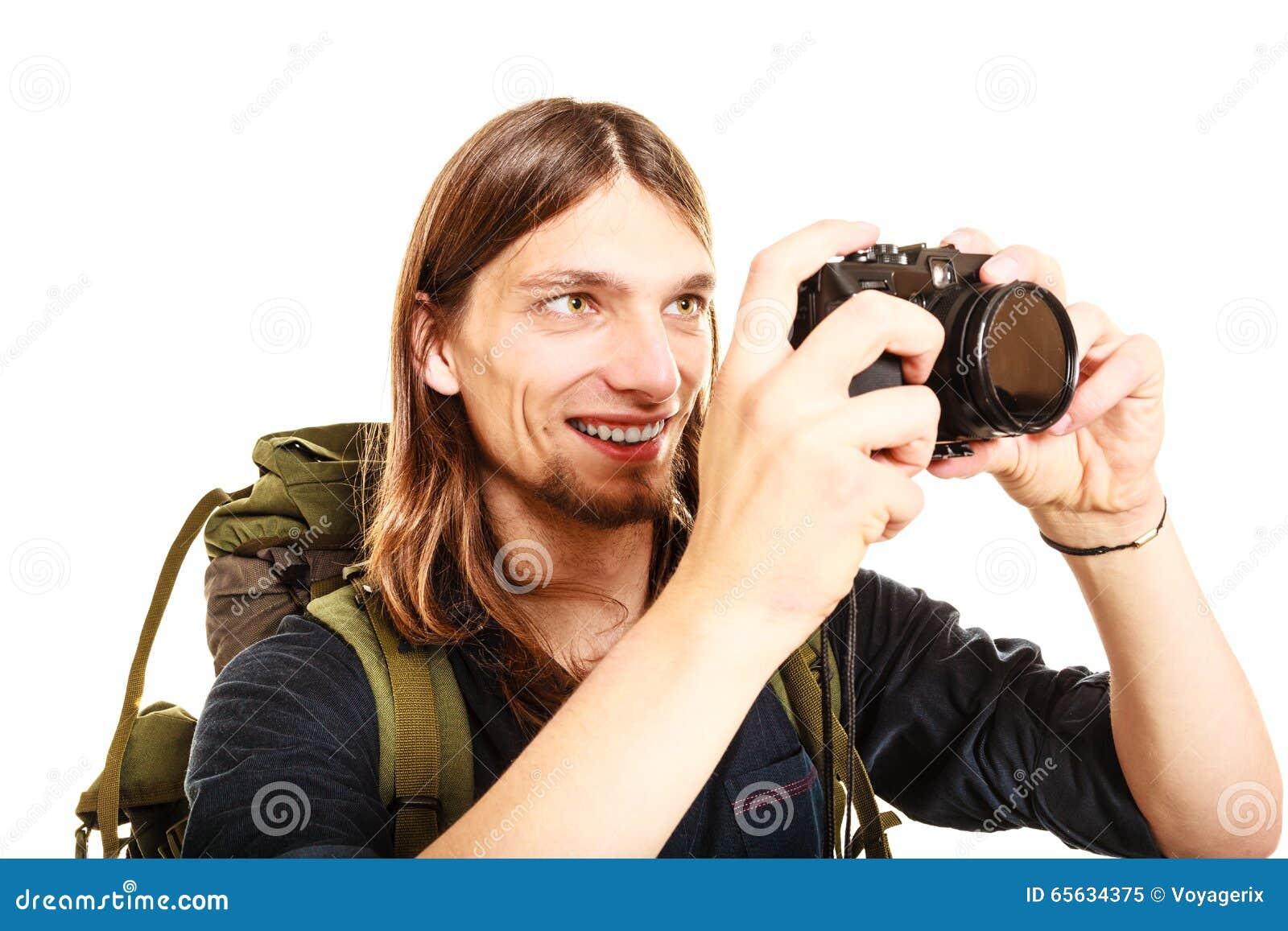 Randonneur de touristes d homme prenant la photo avec l appareil-photo