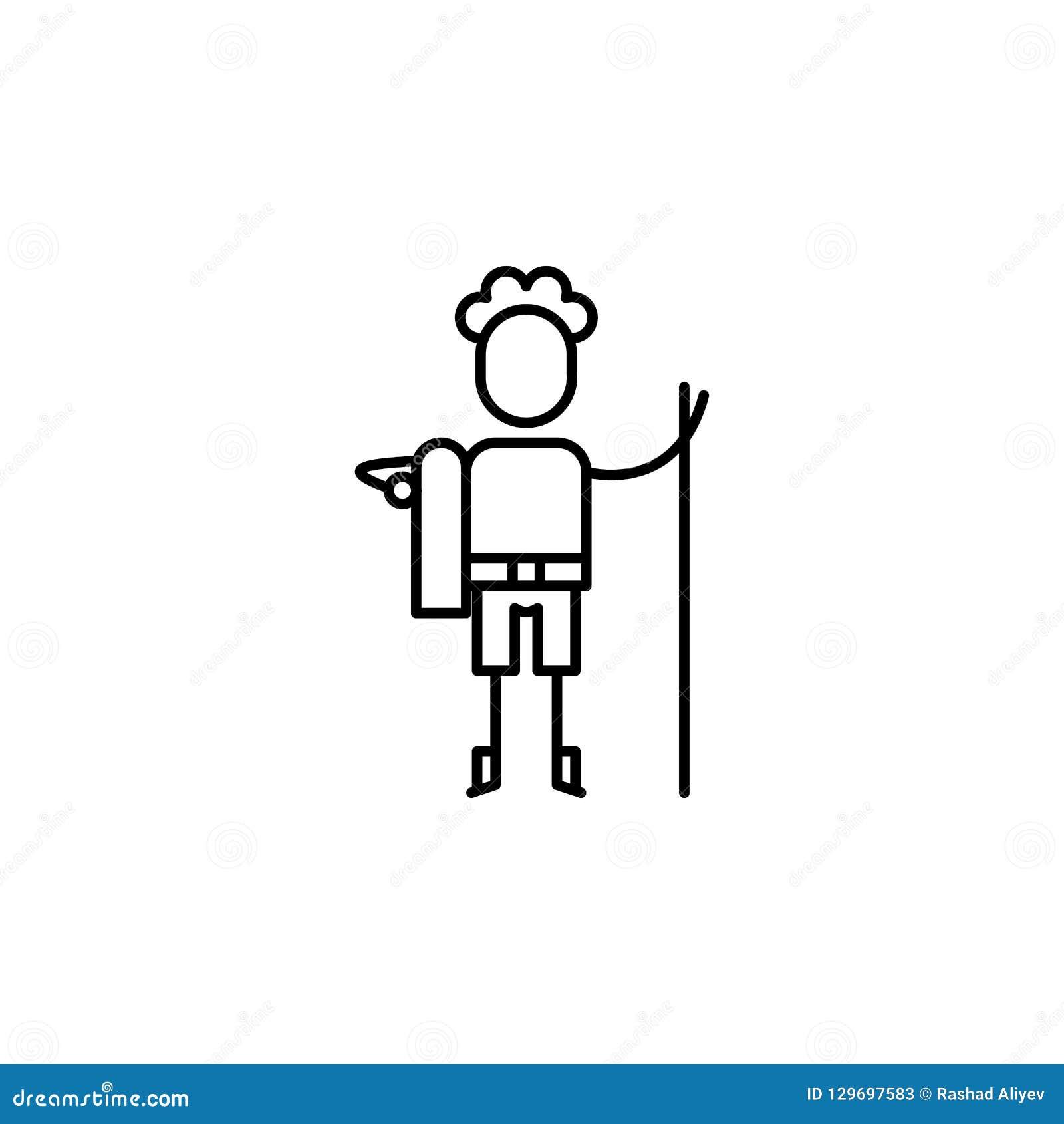 Randonneur, icône de garçon Élément des personnes dans la ligne icône de voyage Ligne mince icône pour la conception de site Web