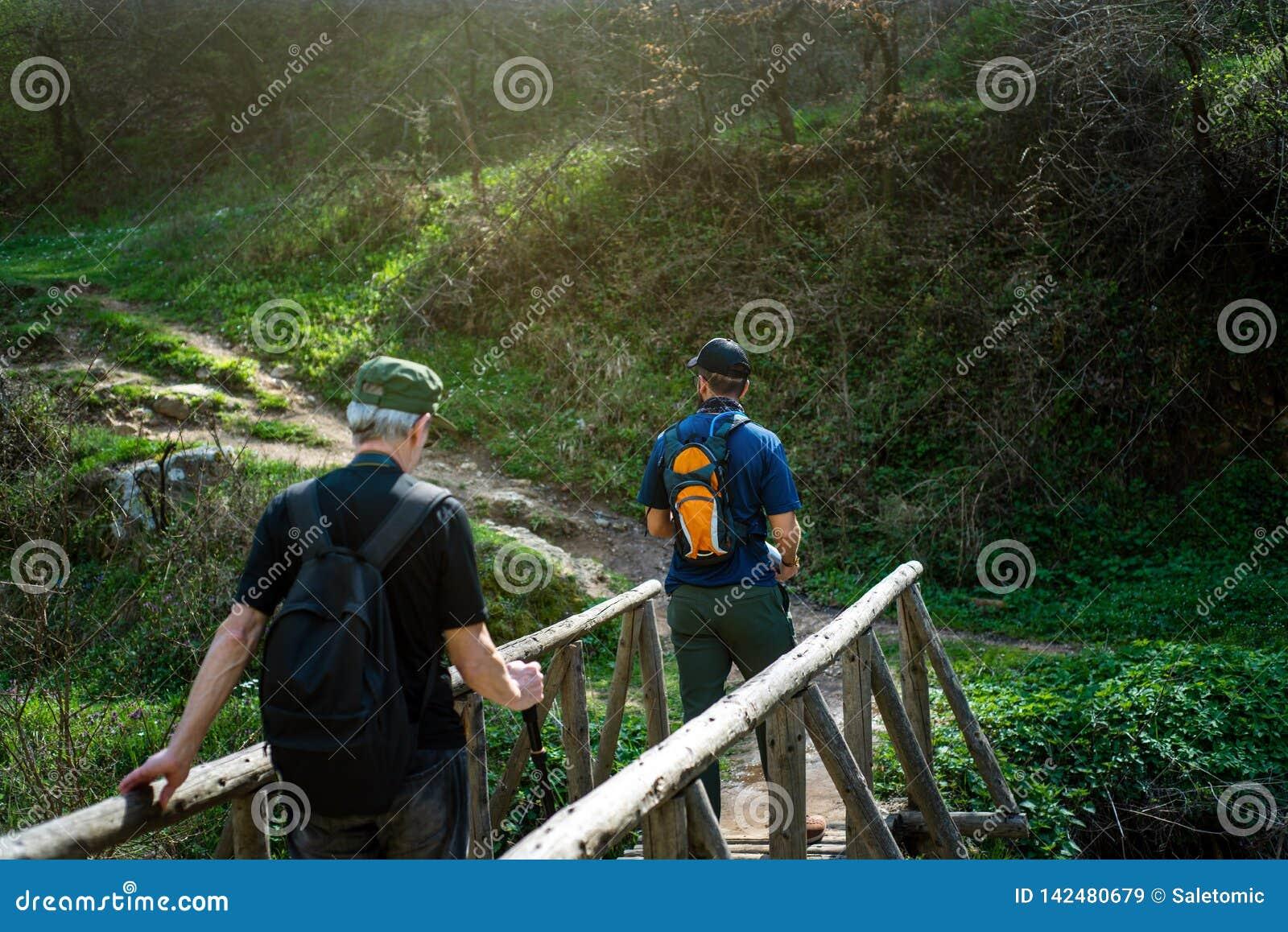 Randonneurs croisant le pont en bois dehors