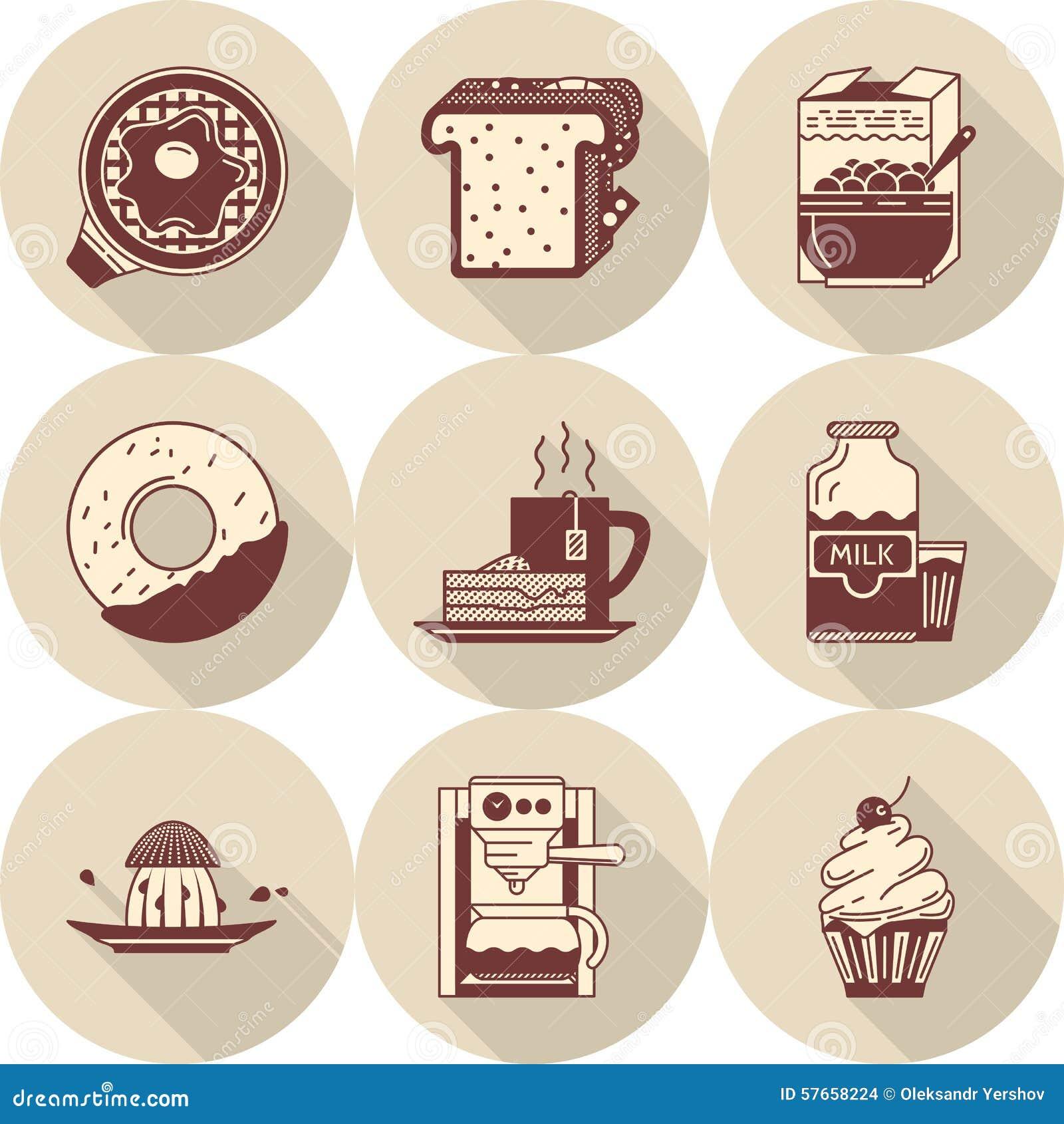 Ranek śniadaniowe brown ikony ustawiać