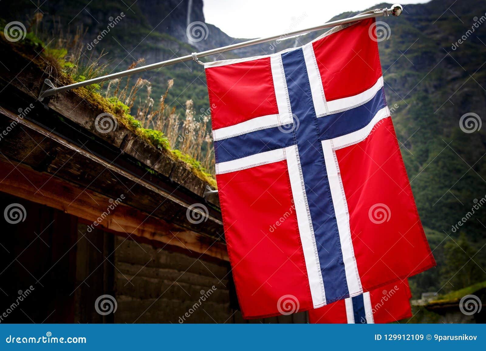 Rangée des drapeaux norvégiens extérieurs sur la nature verte, montagnes à l arrière-plan