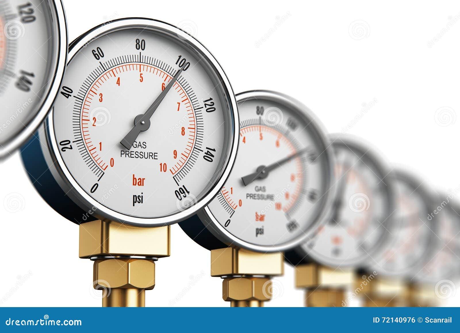 Rangée des mètres à haute pression industriels de mesure de gaz