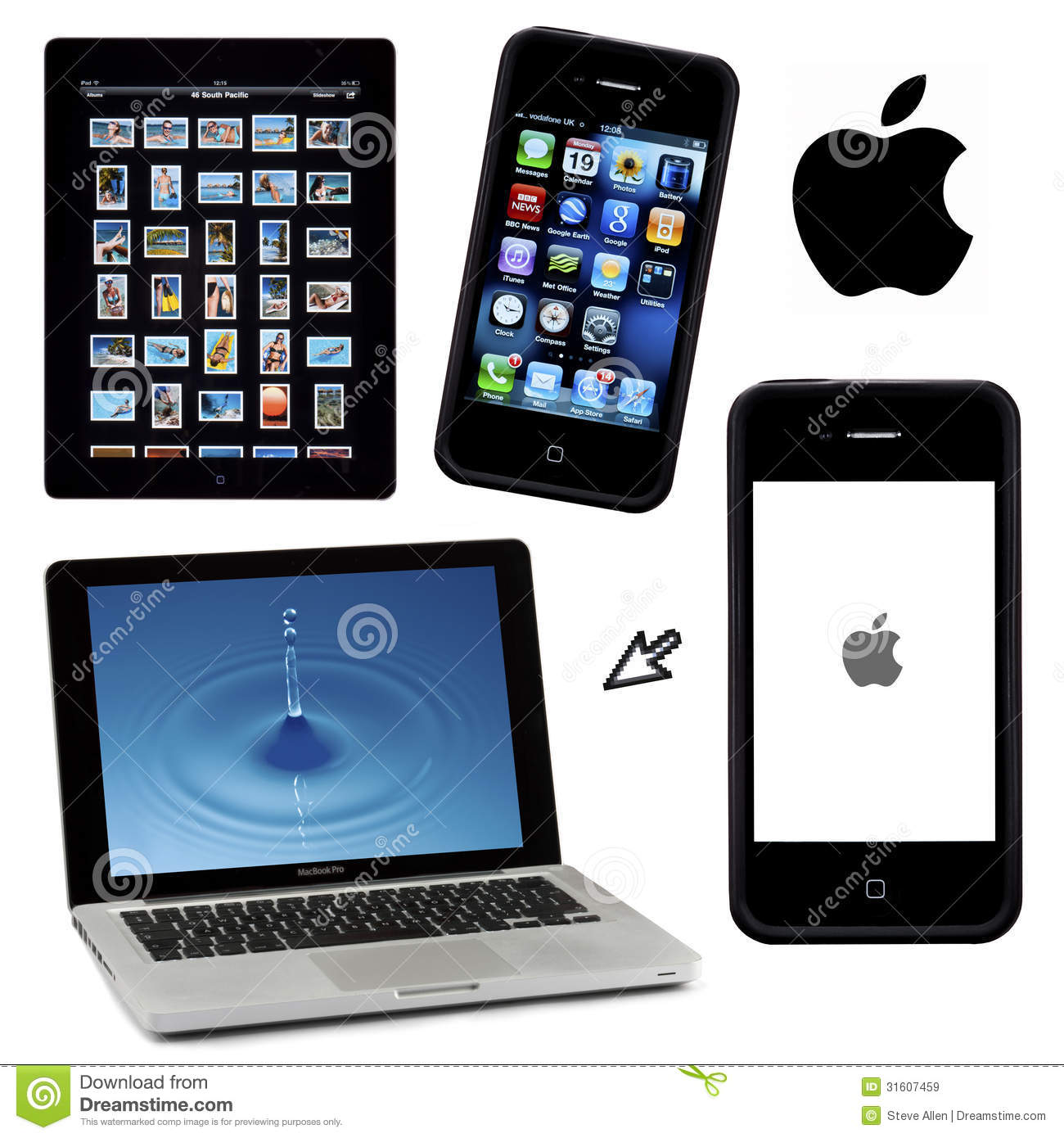 Apple Products Isolated For Cutout Editorial Stock Image