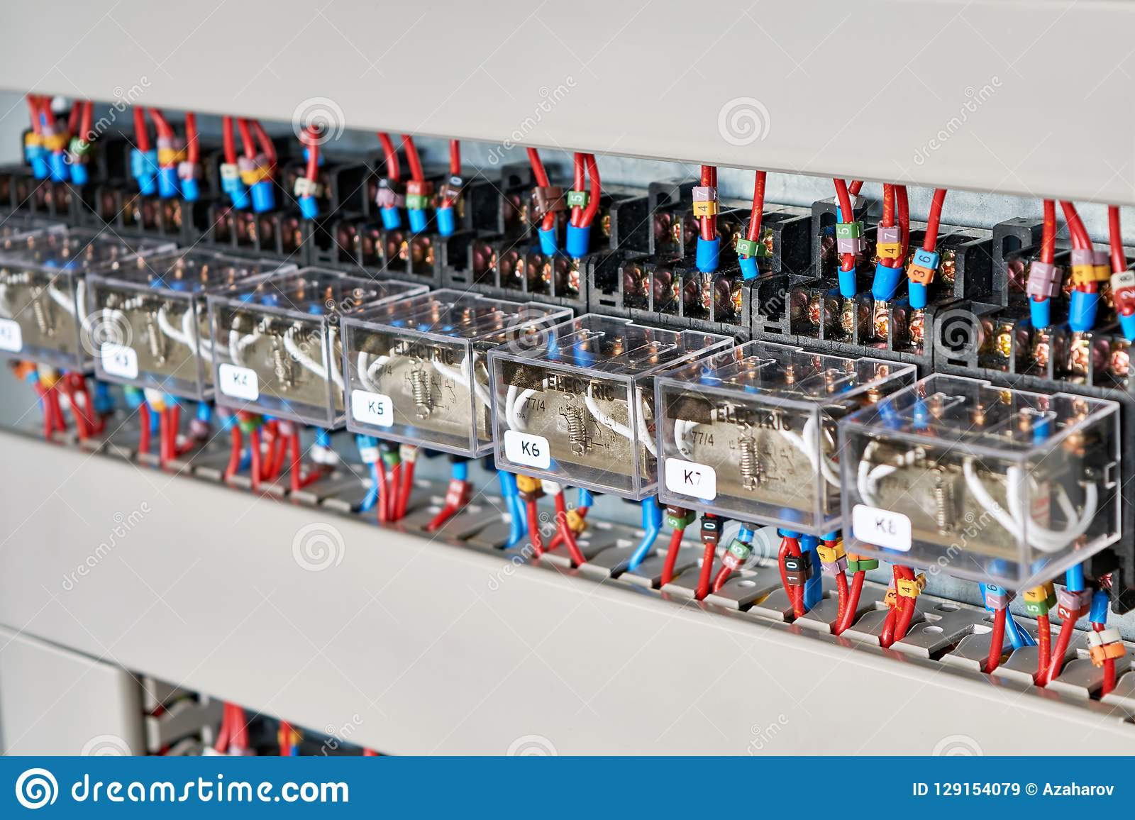 A Range Of Electrical Intermediate Relays In An Electrical