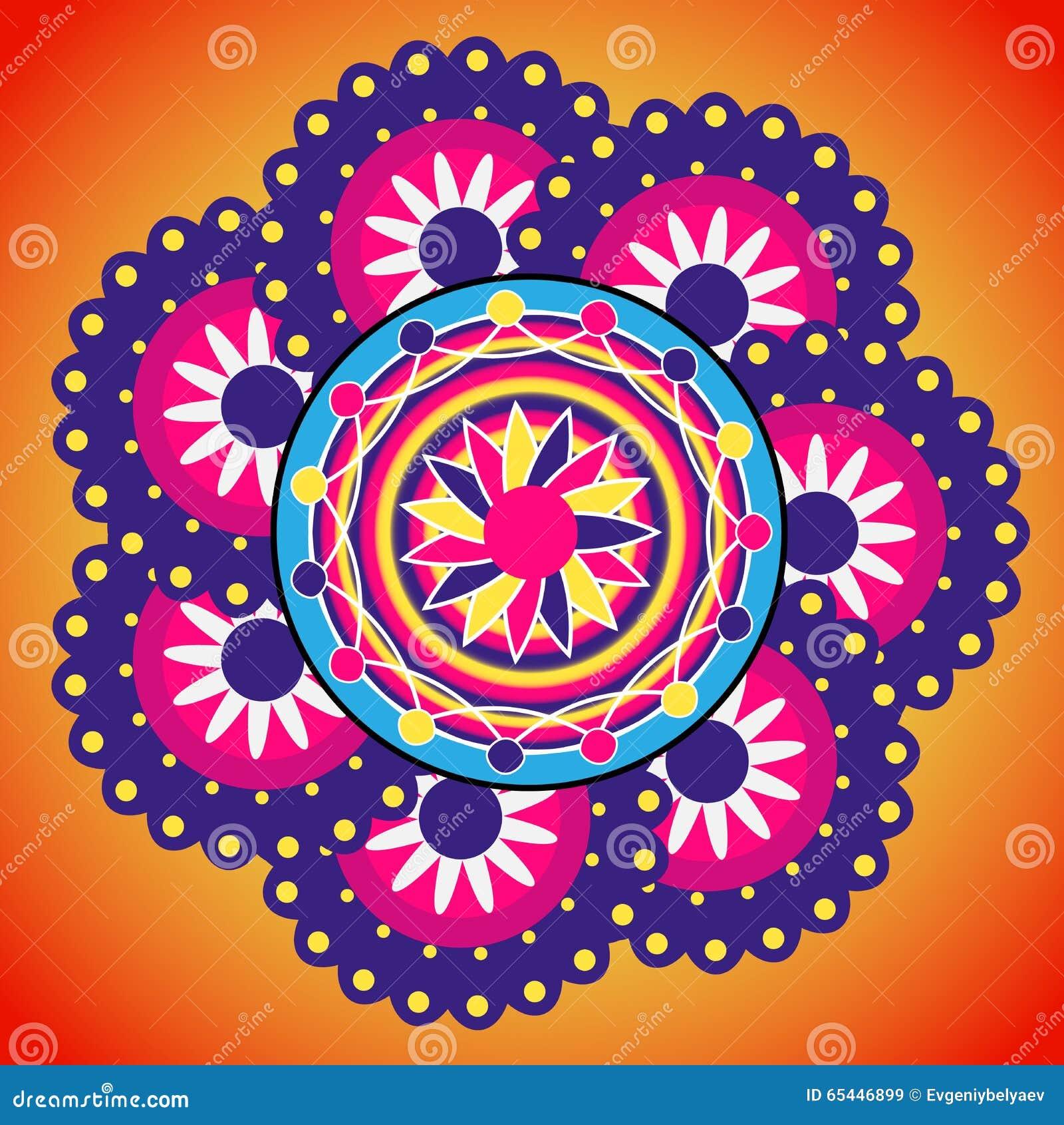 Rangoli Design. Indian Ornament. Stock Vector - Illustration of ... for Flower Rangoli Vector  75sfw